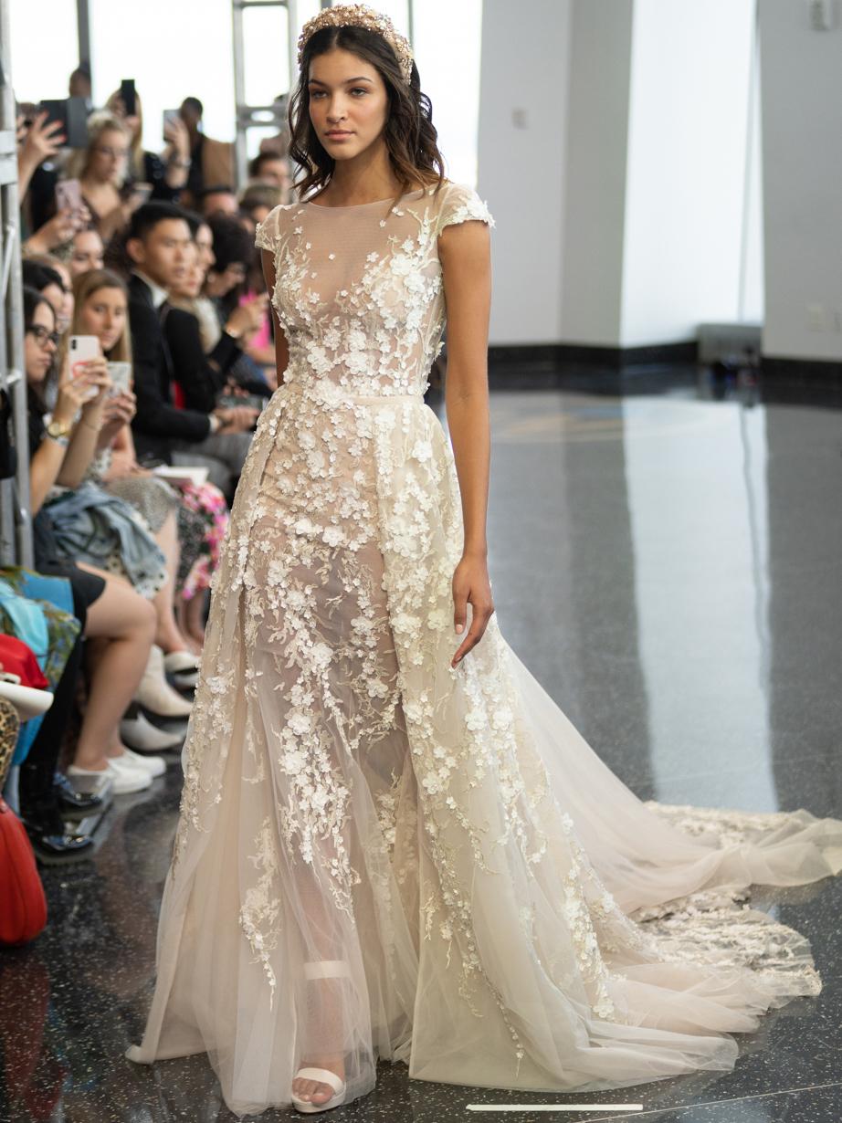 berta sheer high neck a line wedding dress fall 2020