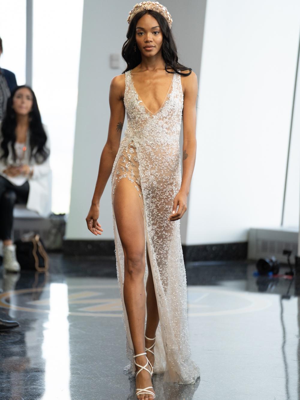 berta v neck sheer lace wedding dress fall 2020