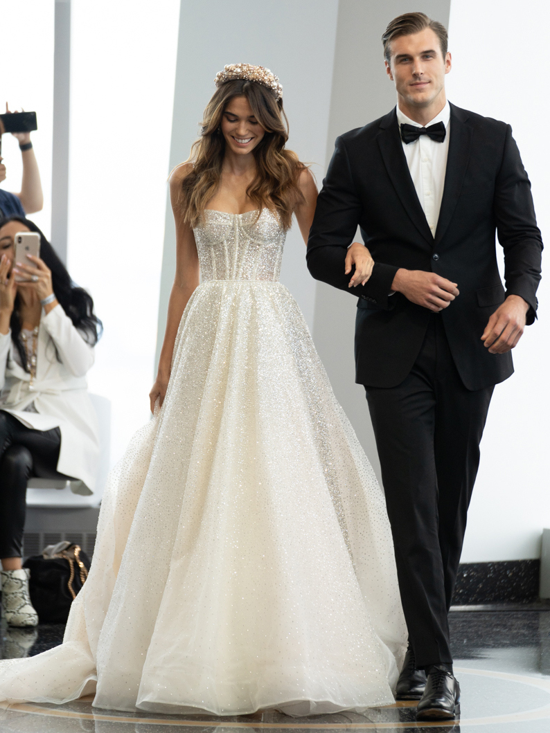 berta sequined exposed boning bodice a line wedding dress fall 2020
