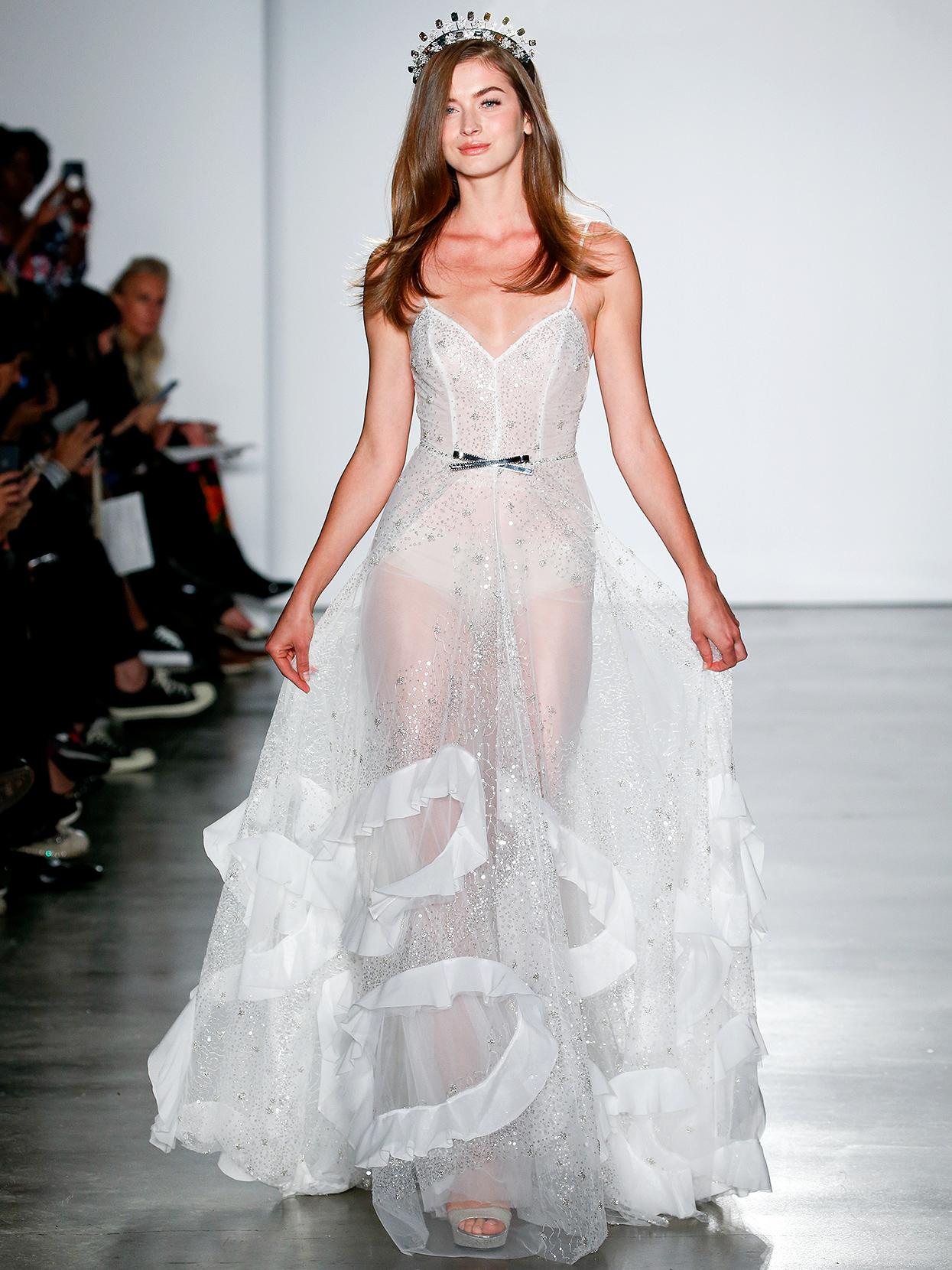 Inbal Dror spaghetti-strap sheer overlay wedding dress fall 2020