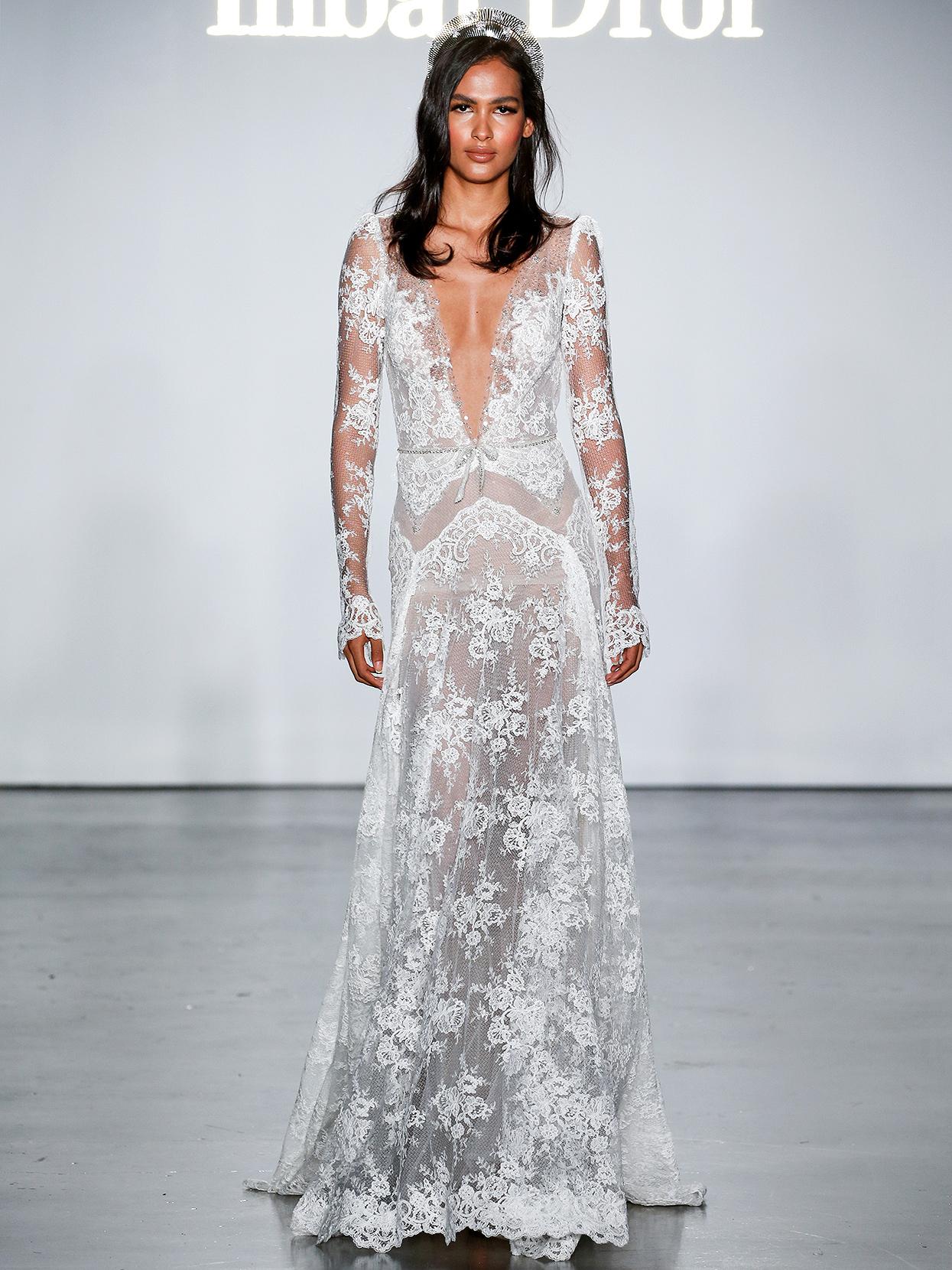 Inbal Dror long-sleeved sheer lace wedding dress fall 2020