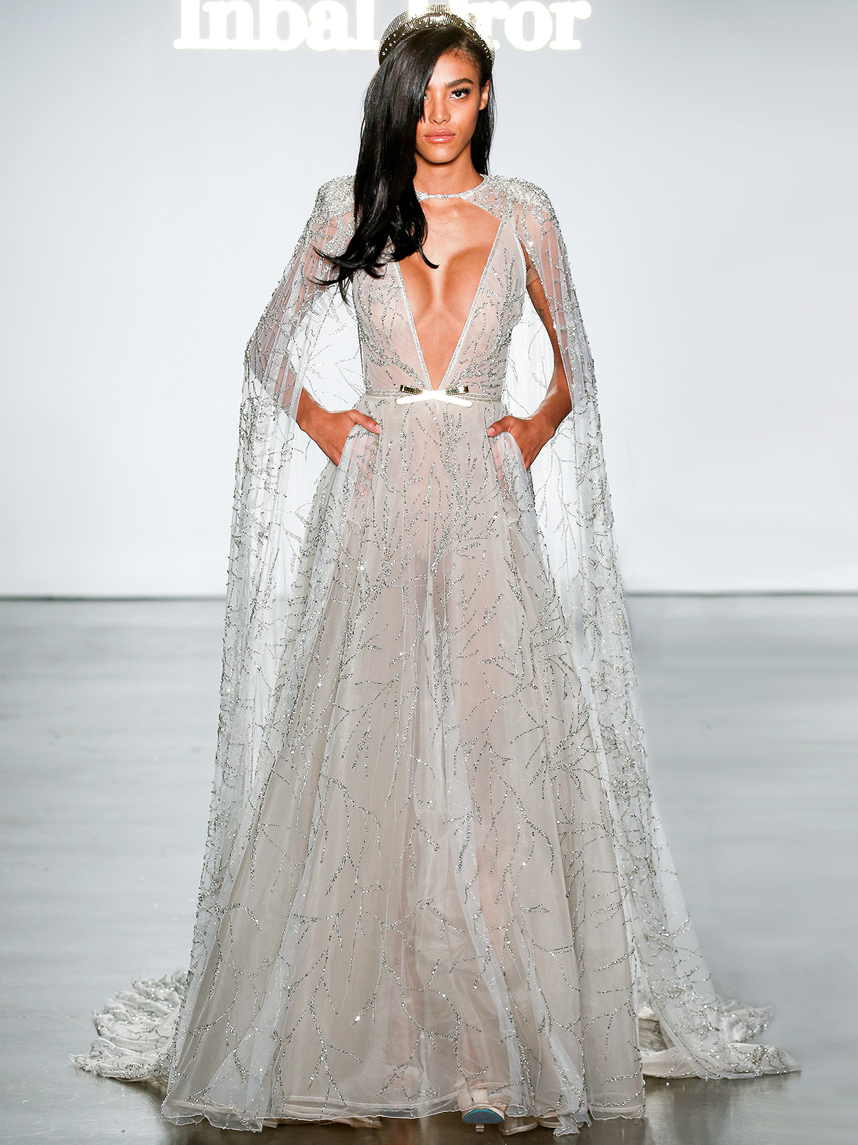 Inbal Dror embellished plunging neck with cape wedding dress fall 2020