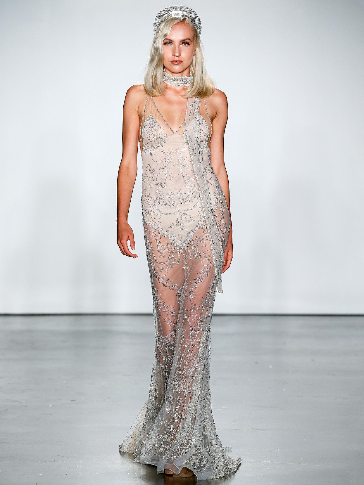 Inbal Dror sheer embellished overlay wedding dress fall 2020