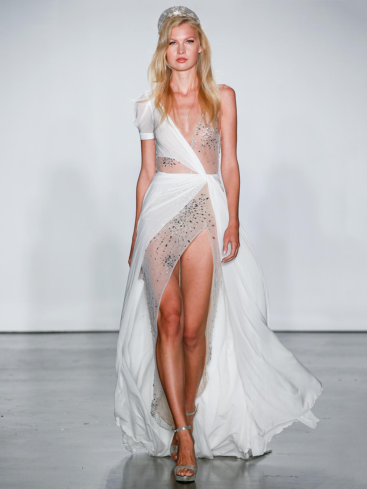 Inbal Dror asymmetrical layered with slit wedding dress fall 2020