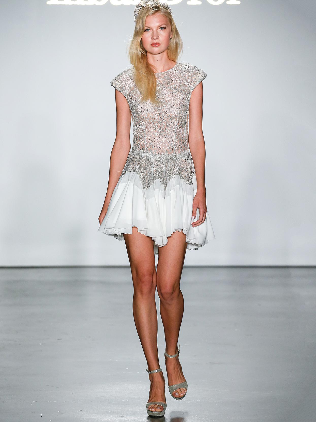 Inbal Dror short embellished cap-sleeved wedding dress fall 2020