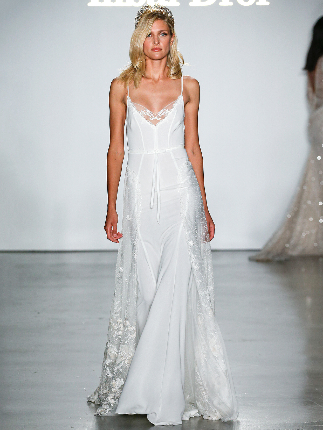 Inbal Dror spaghetti-strap lace side panel wedding dress fall 2020