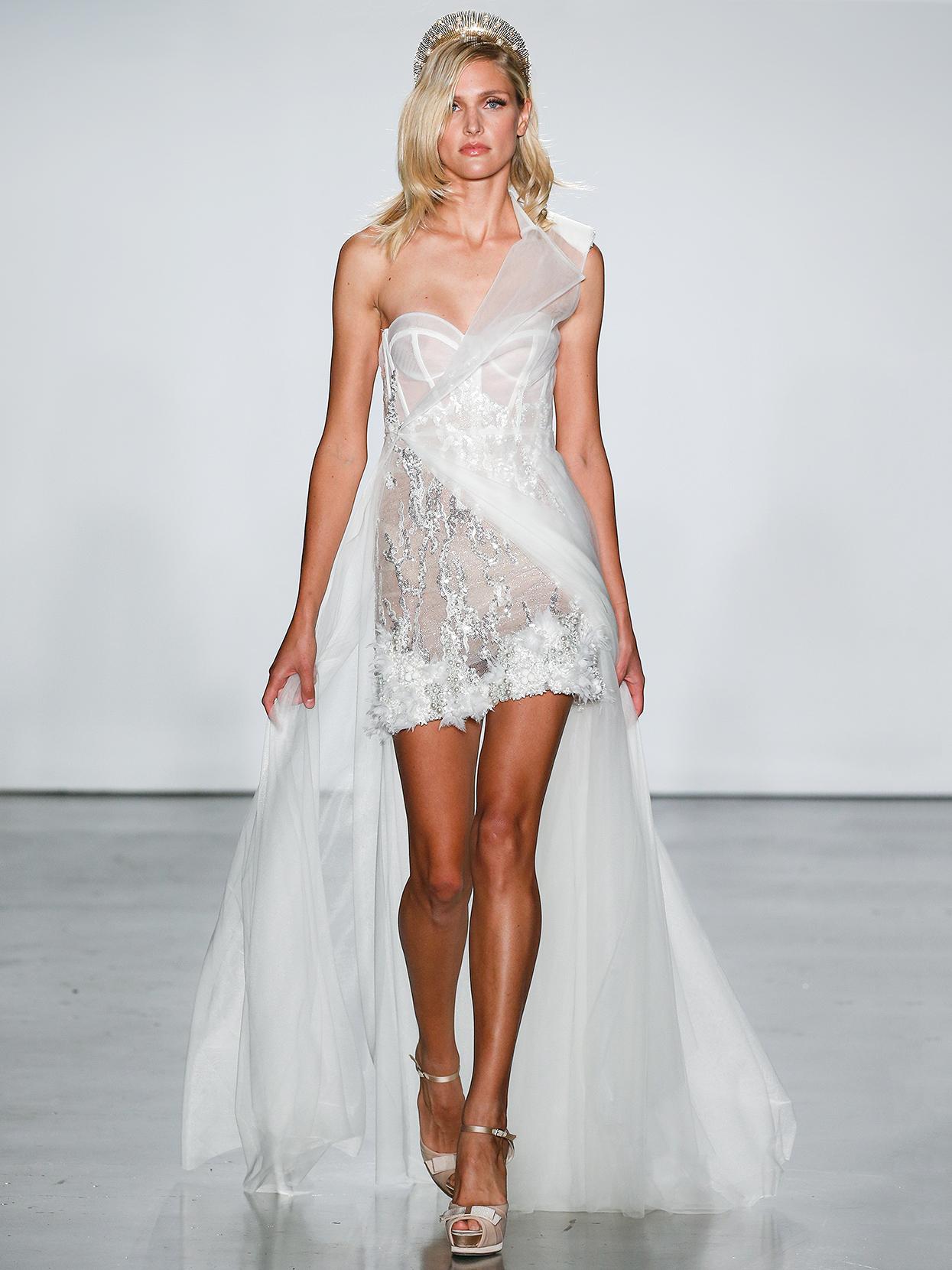 Inbal Dror short with asymmetrical overlay wedding dress fall 2020
