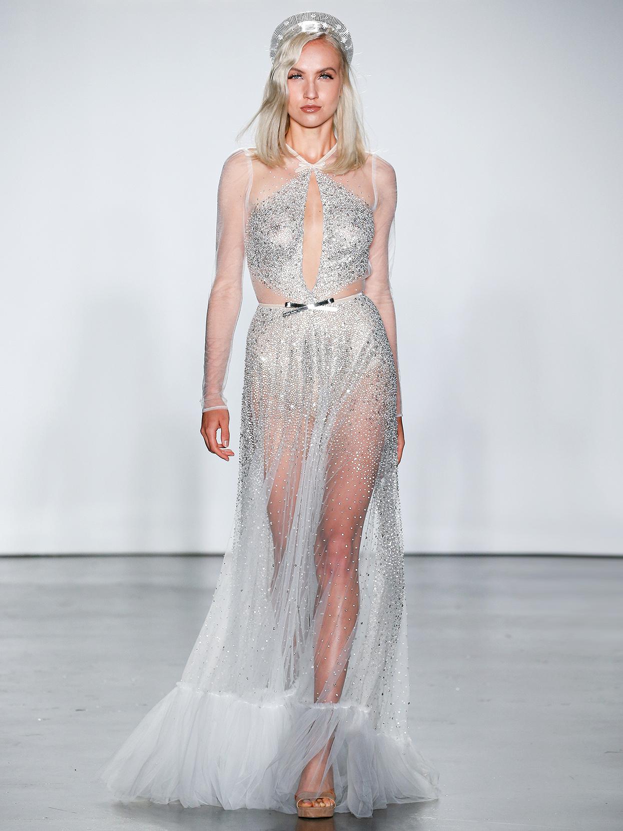 Inbal Dror illusion neck sheer with cutouts wedding dress fall 2020