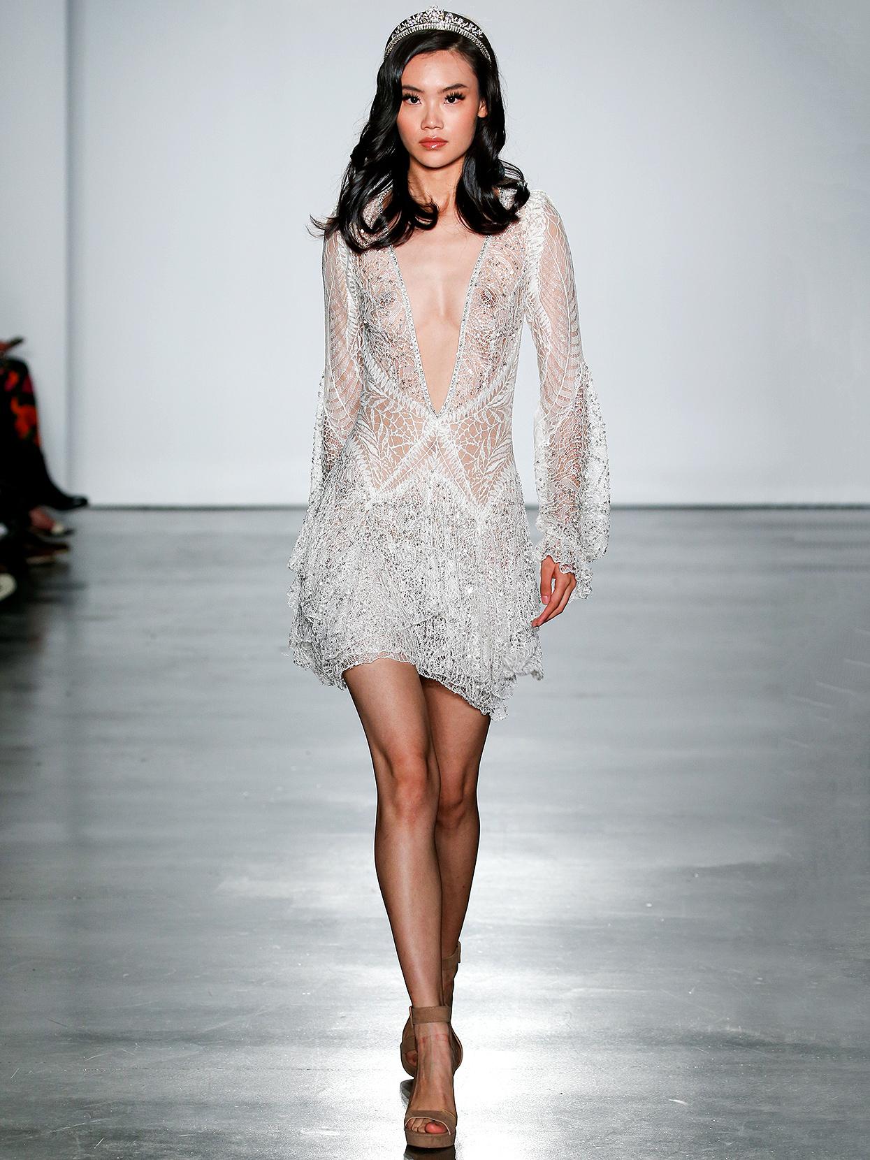 Inbal Dror short plunging-neck long-sleeved wedding dress fall 2020