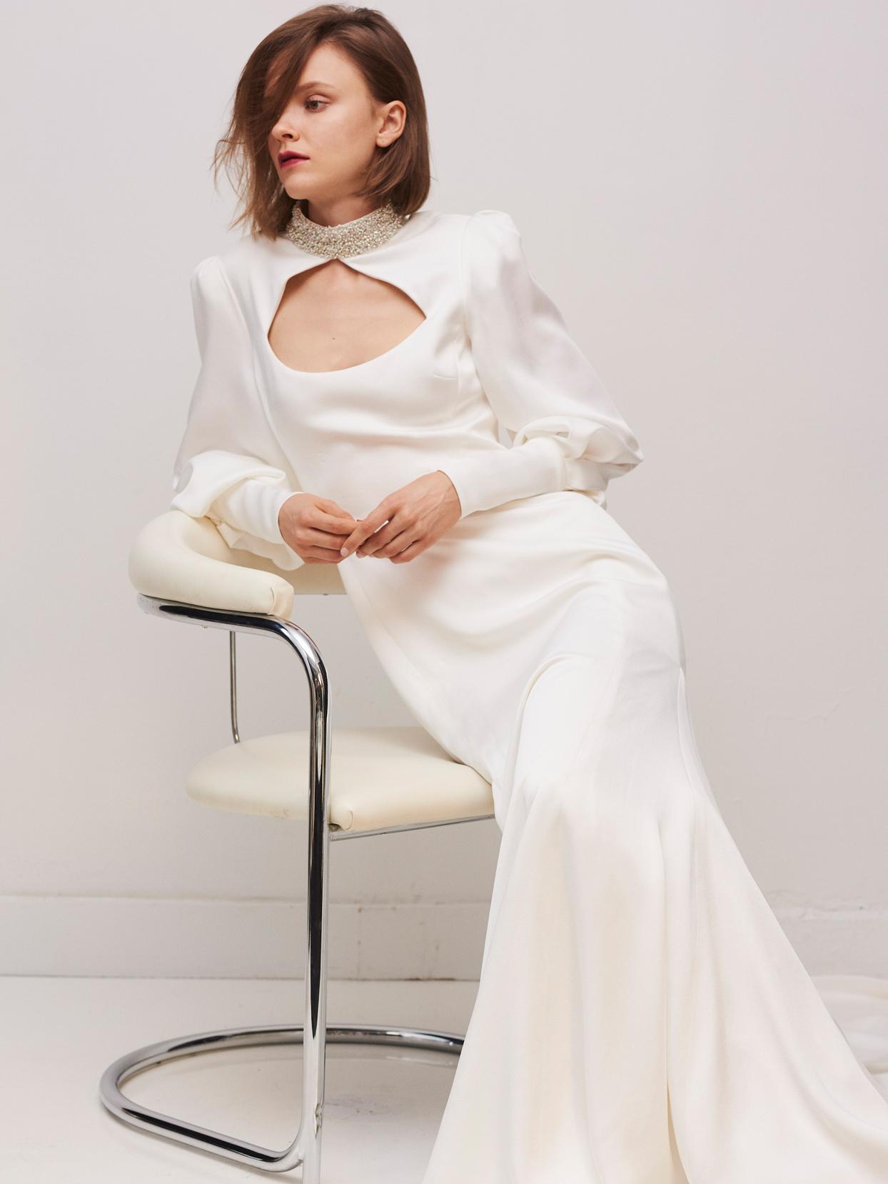 rivini by rita vinieris long sleeve beaded high-neckline with cut out wedding dress fall 2020