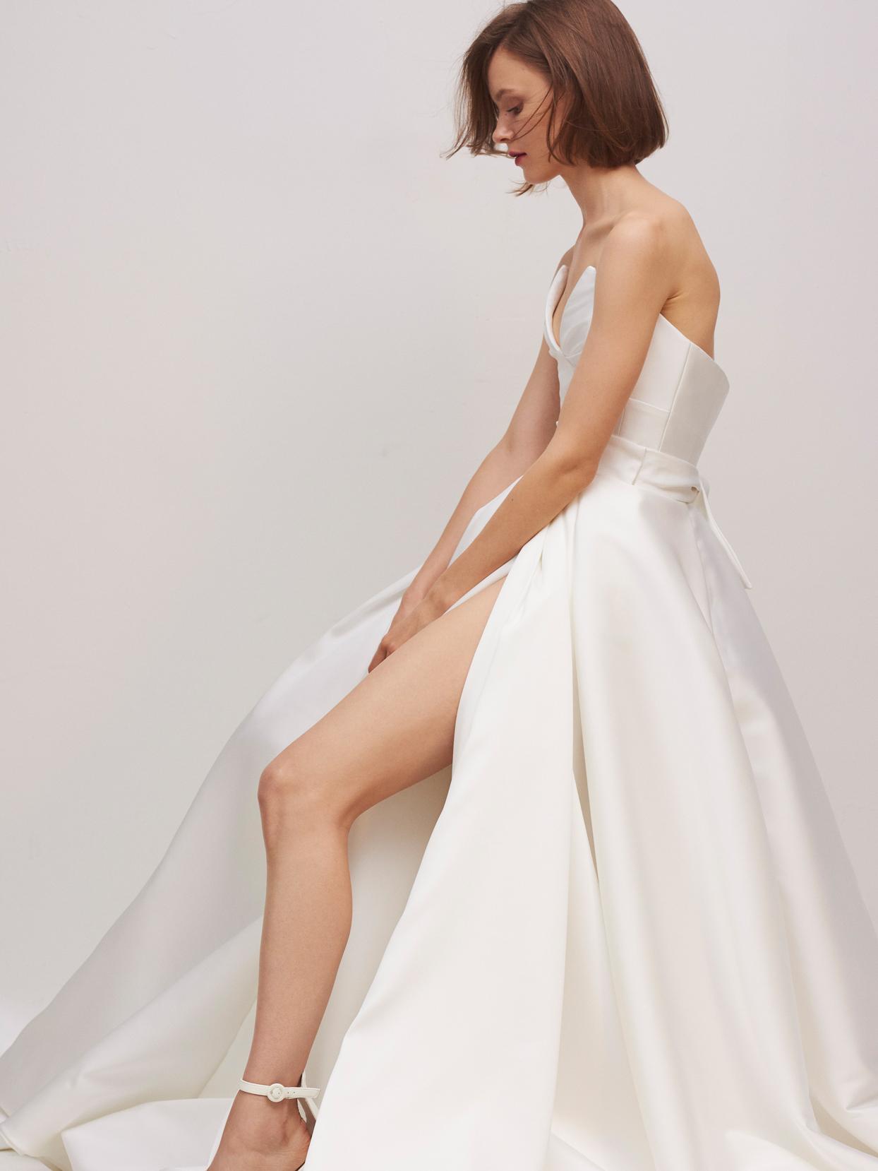 rivini by rita vinieris strapless a-line wedding dress with high slit fall 2020