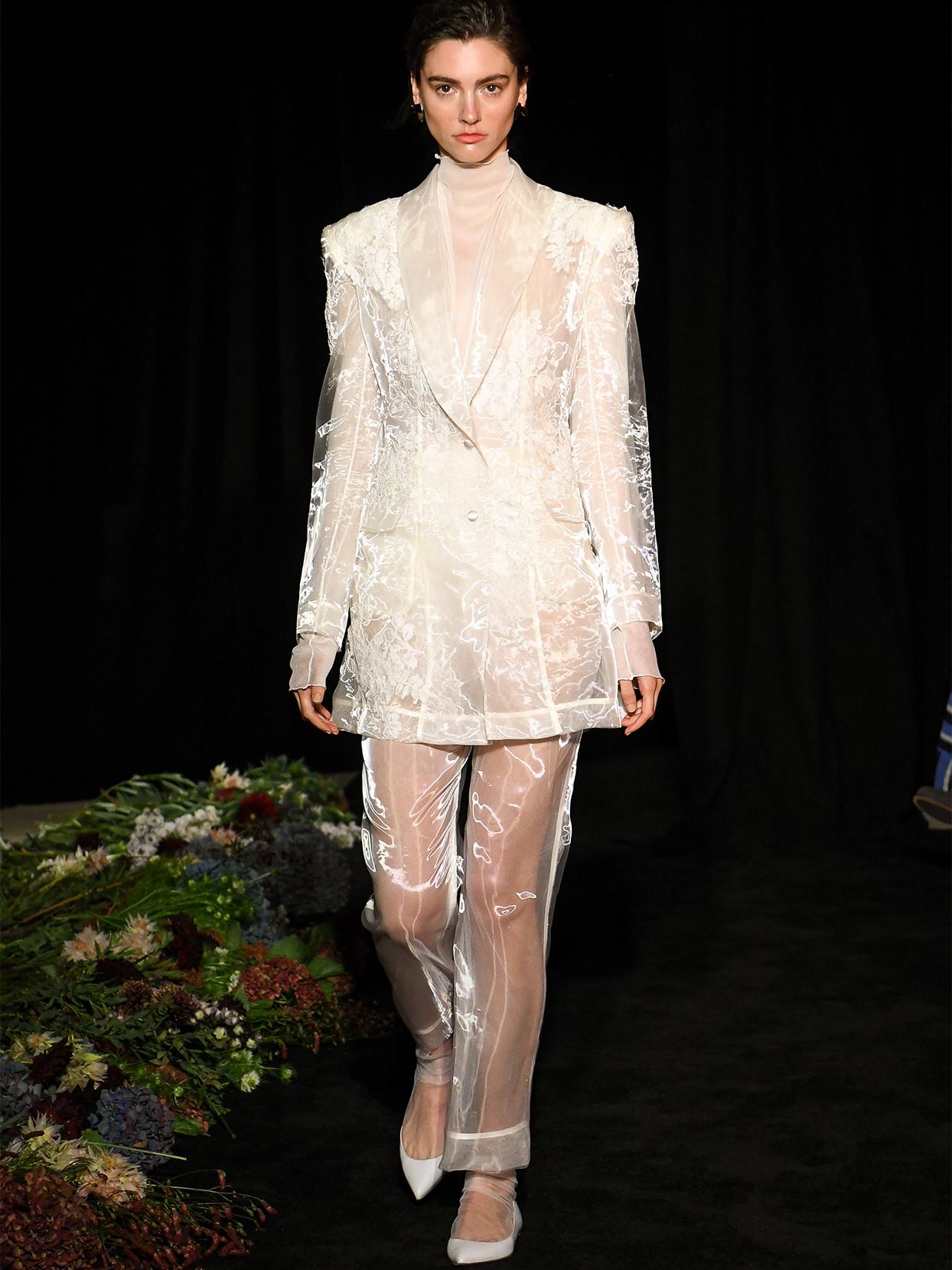 danielle frankel sheer flowered coat pantsuit wedding dress fall 2020