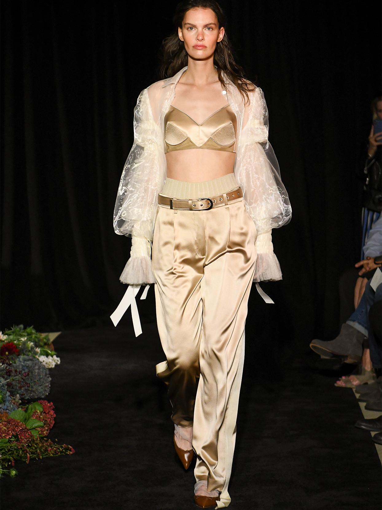 danielle frankel crop top pants sheer sleeves wedding dress fall 2020