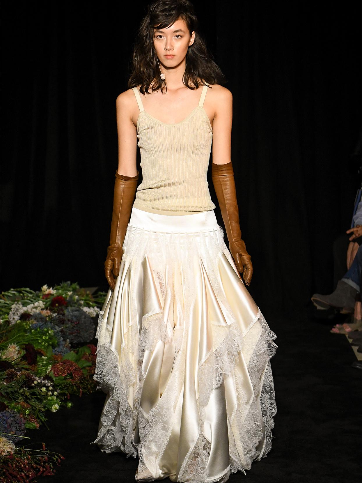 danielle frankel tank top ruffle skirt wedding dress fall 2020