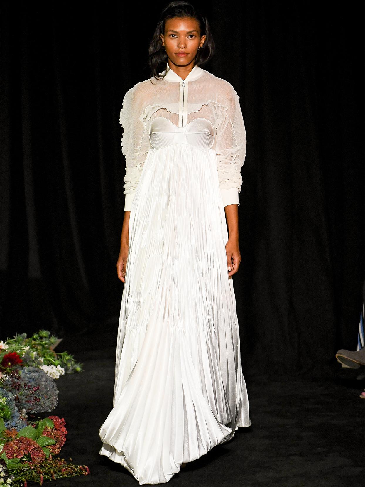 danielle frankel sheer jacket a line wedding dress fall 2020