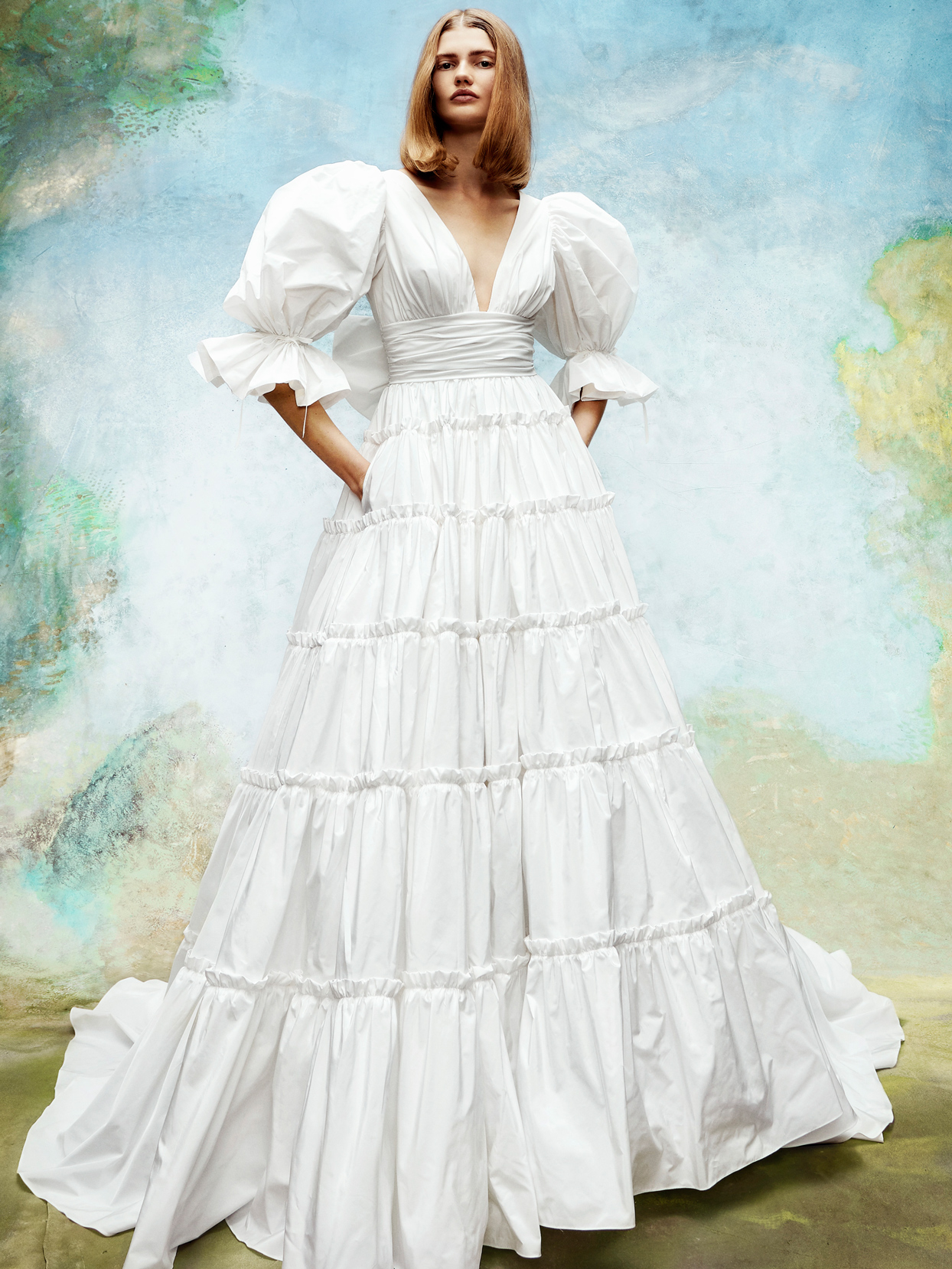viktor and rolf v-neck bishop sleeves a-line wedding dress fall 2020