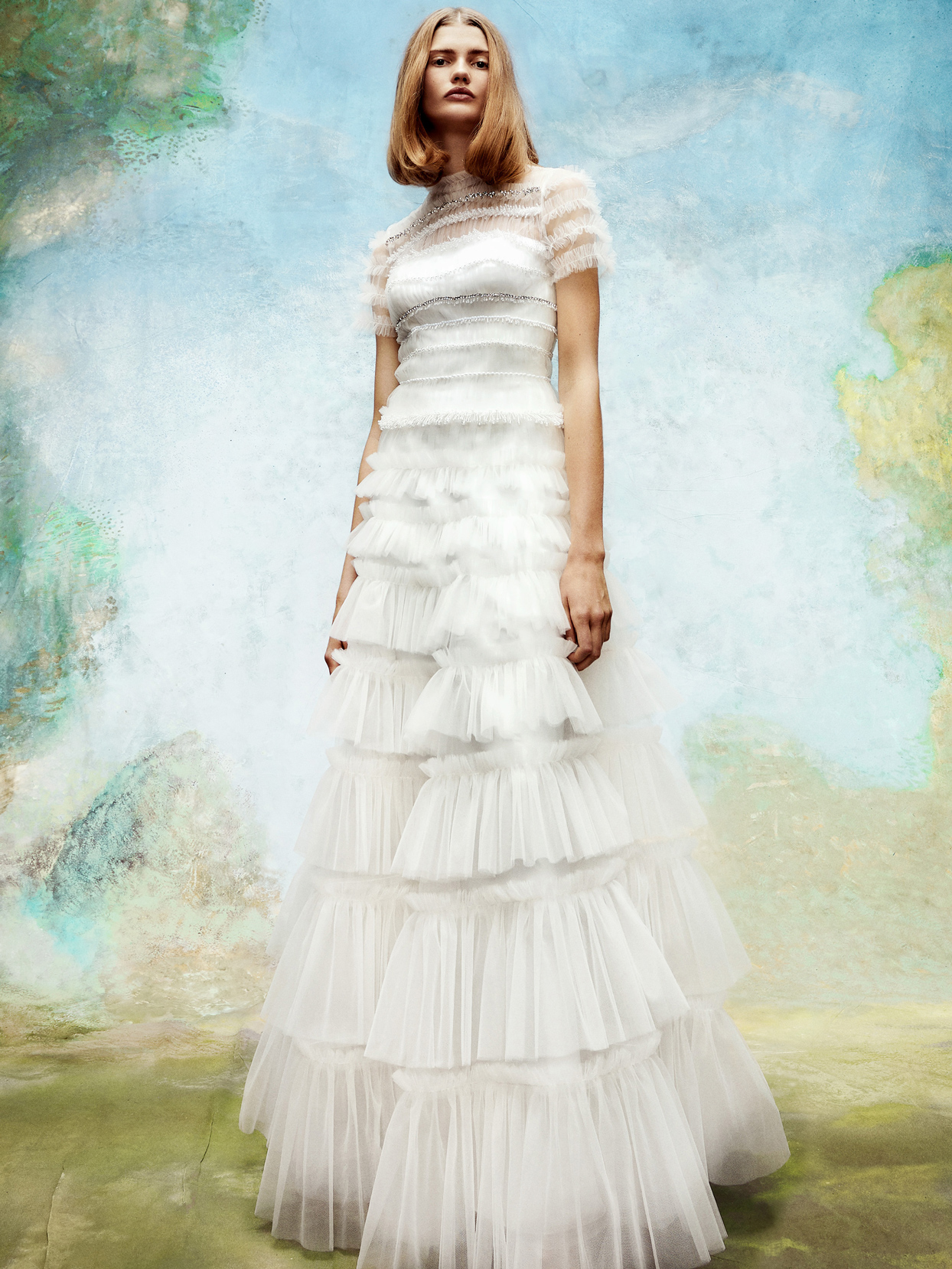 viktor and rolf tulle high illusion neckline short-sleeve wedding dress fall 2020