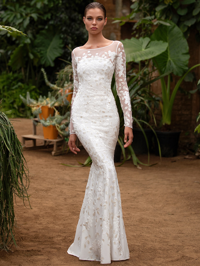 Zac Posen For White One illusion boat neck long sleeve embroidered mermaid wedding dress fall 2020