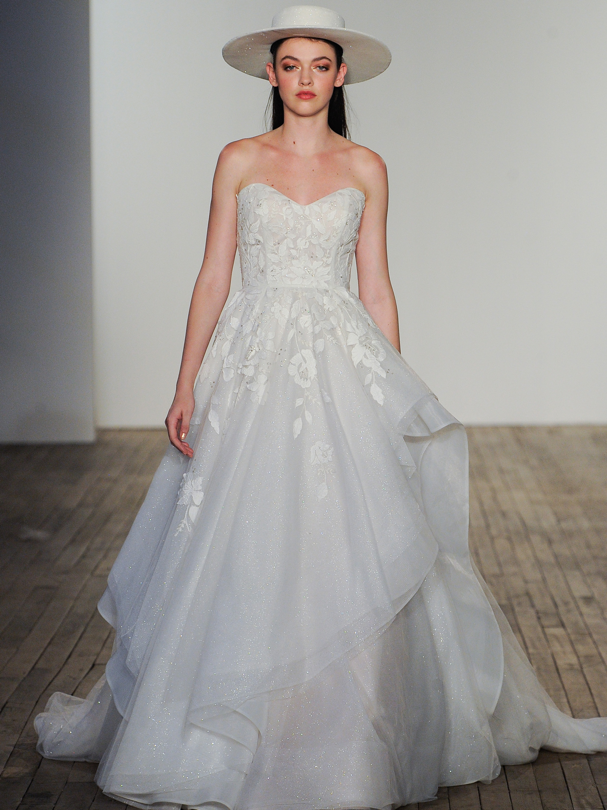 Hayley Paige embroidered tulle ballgown strapless sweetheart wedding dress fall 2020