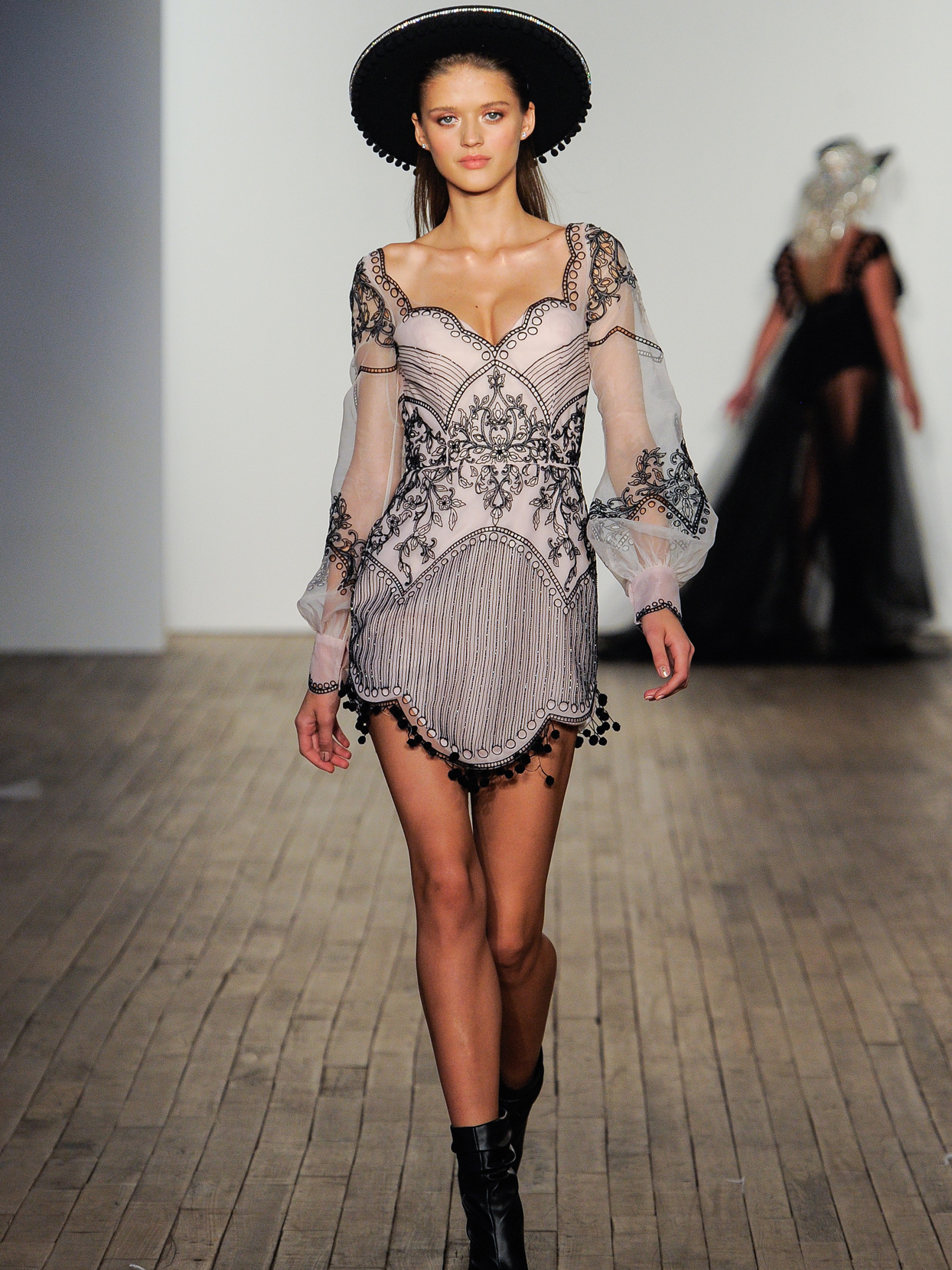 Hayley Paige long sleeve Black embroidered mini wedding dress fall 2020