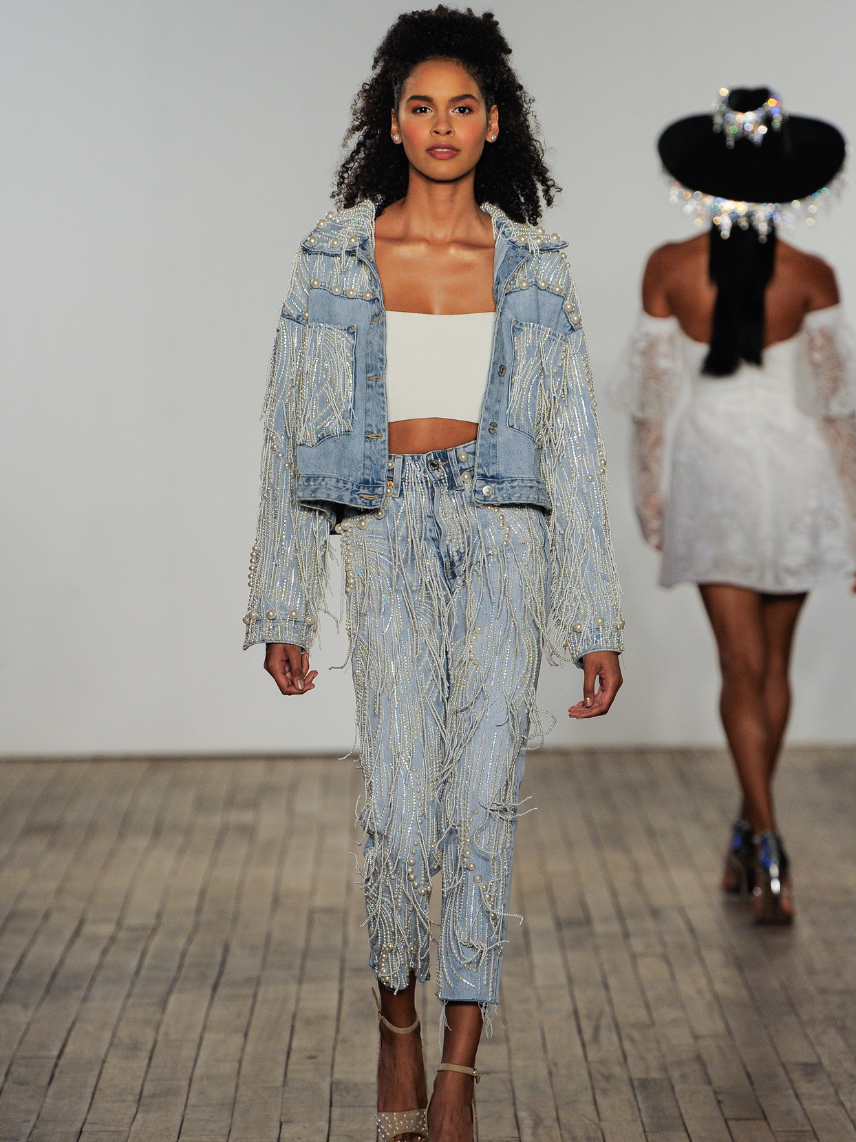 Hayley Paige pearlized denim pants with Rodeo jacket fall 2020