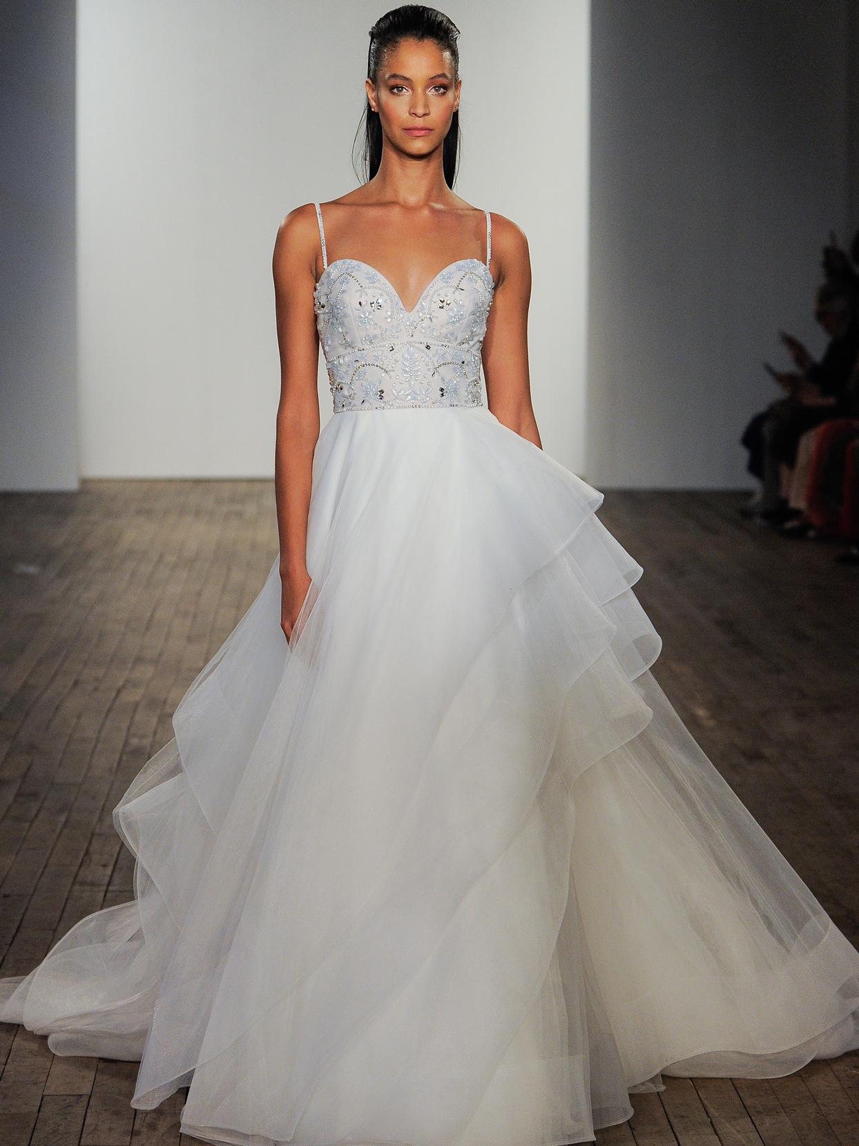 Hayley Paige sweetheart rhinestone bodice tulle skirt wedding dress fall 2020