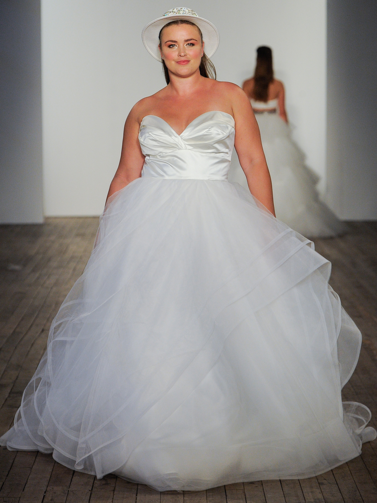 Hayley Paige Satin and tulle ball gown wedding dress fall 2020