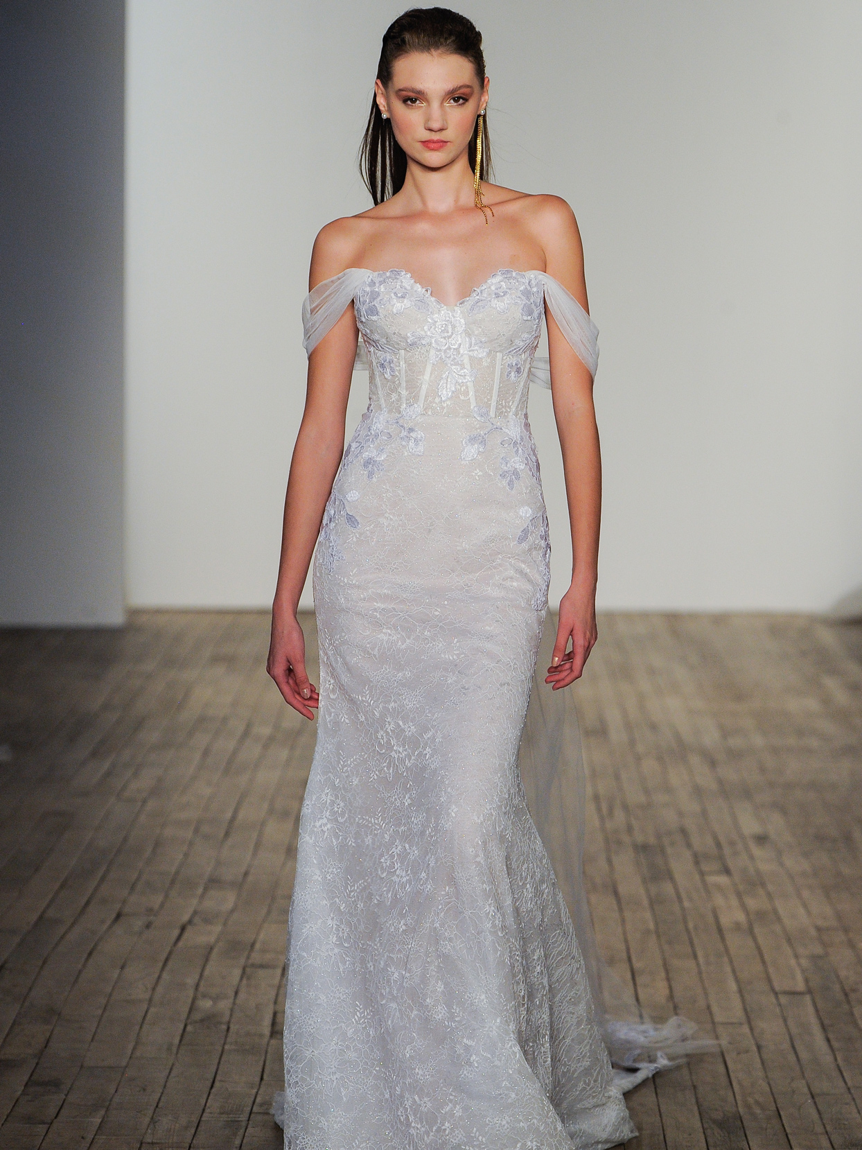 Hayley Paige off-the-shoulder corset bodice embroidered appliqué wedding dress fall 2020