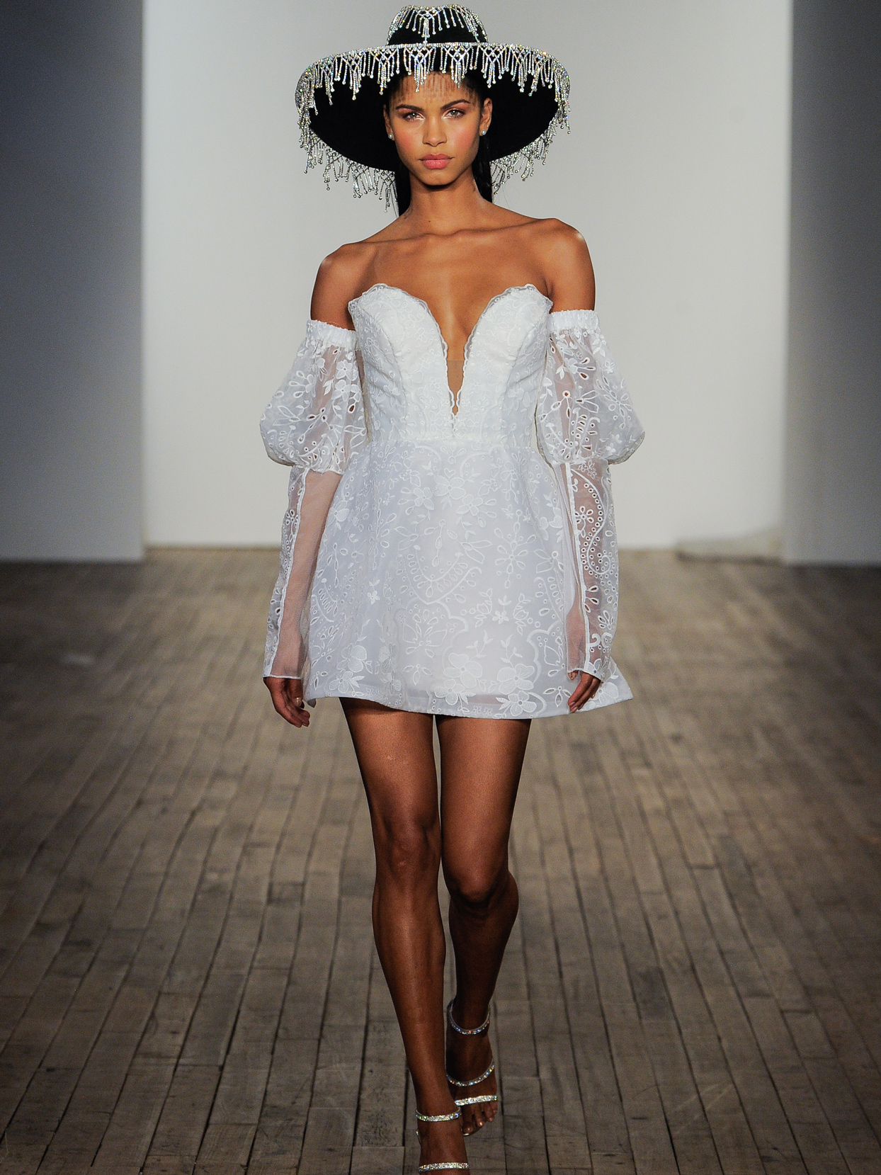 Hayley Paige A-line mini plunging v-neck off-the-shoulder puff sleeve wedding dress fall 2020