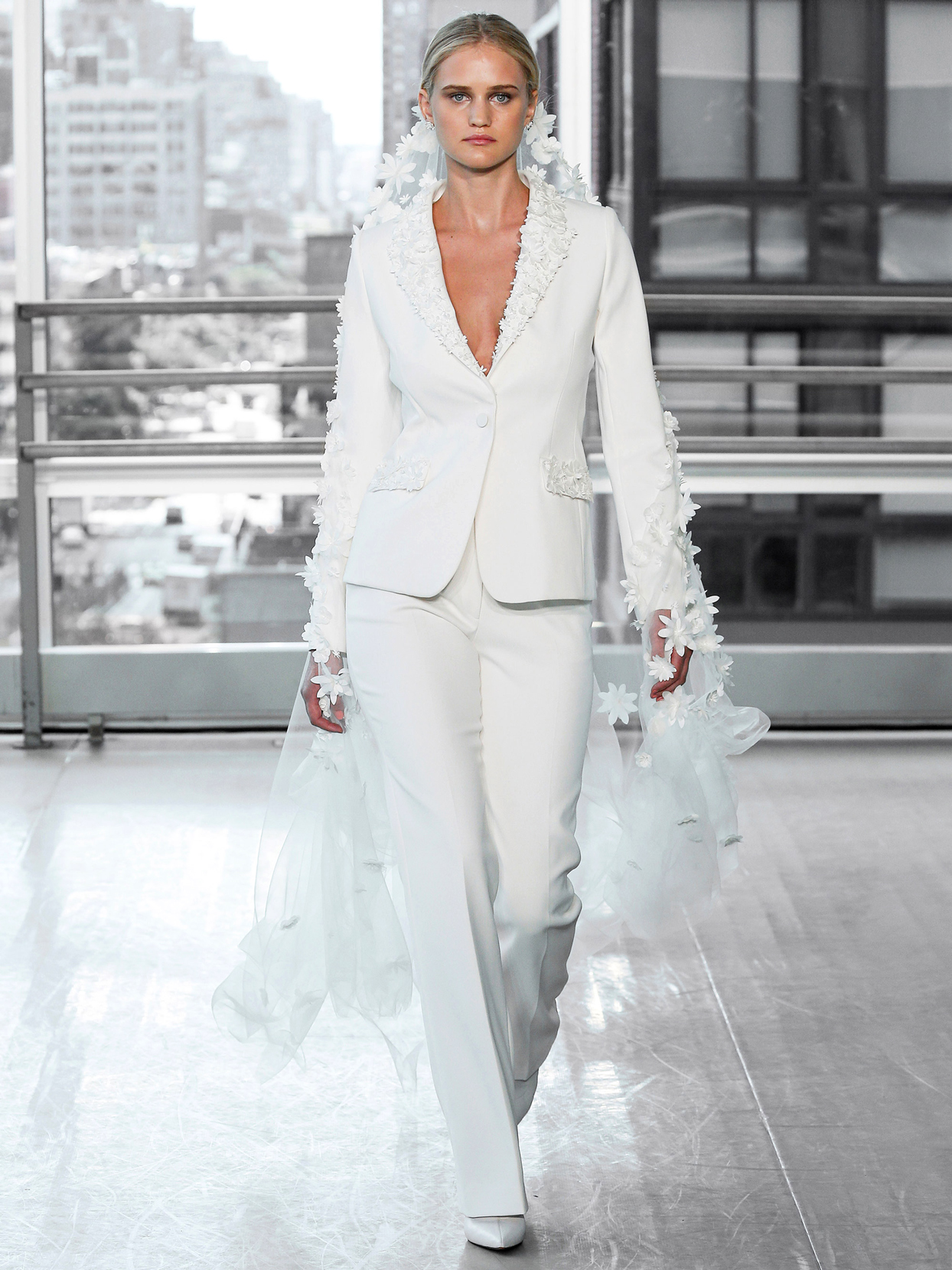 Justin Alexander Signature crepe pantsuit 3d flower accent wedding dress fall 2020