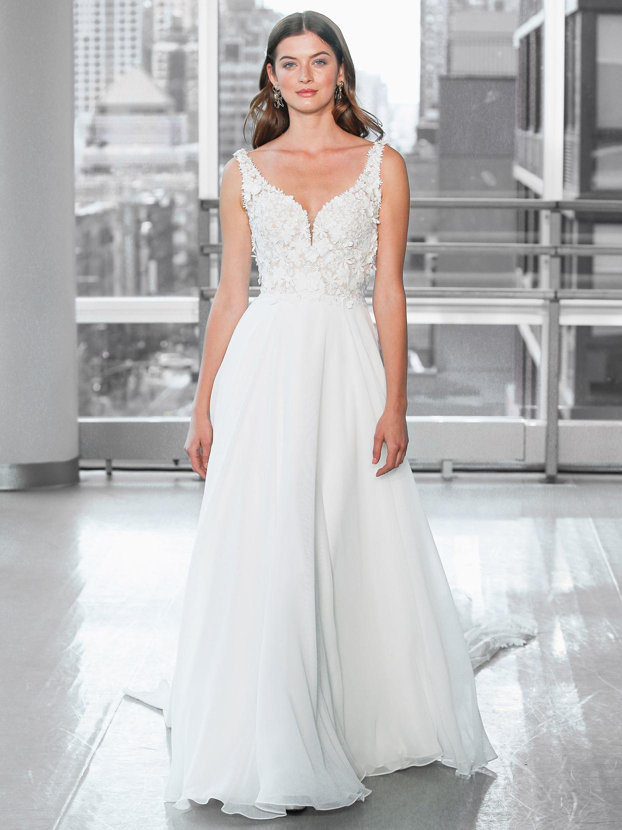 Justin Alexander Signature chiffon a-line 3d floral applique wedding dress fall 2020