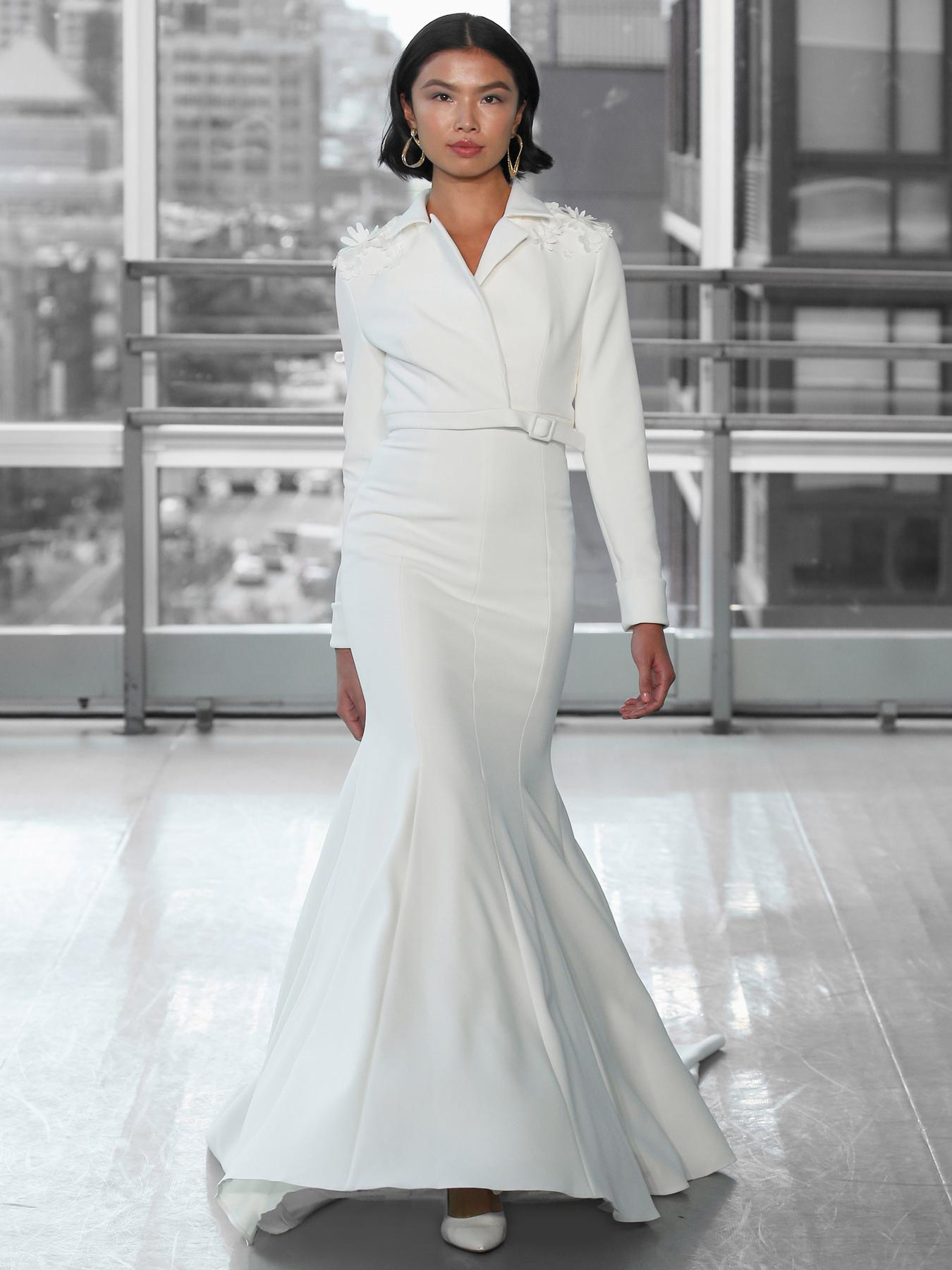 Justin Alexander Signature collar high neck long sleeve belt trumpet wedding dress fall 2020