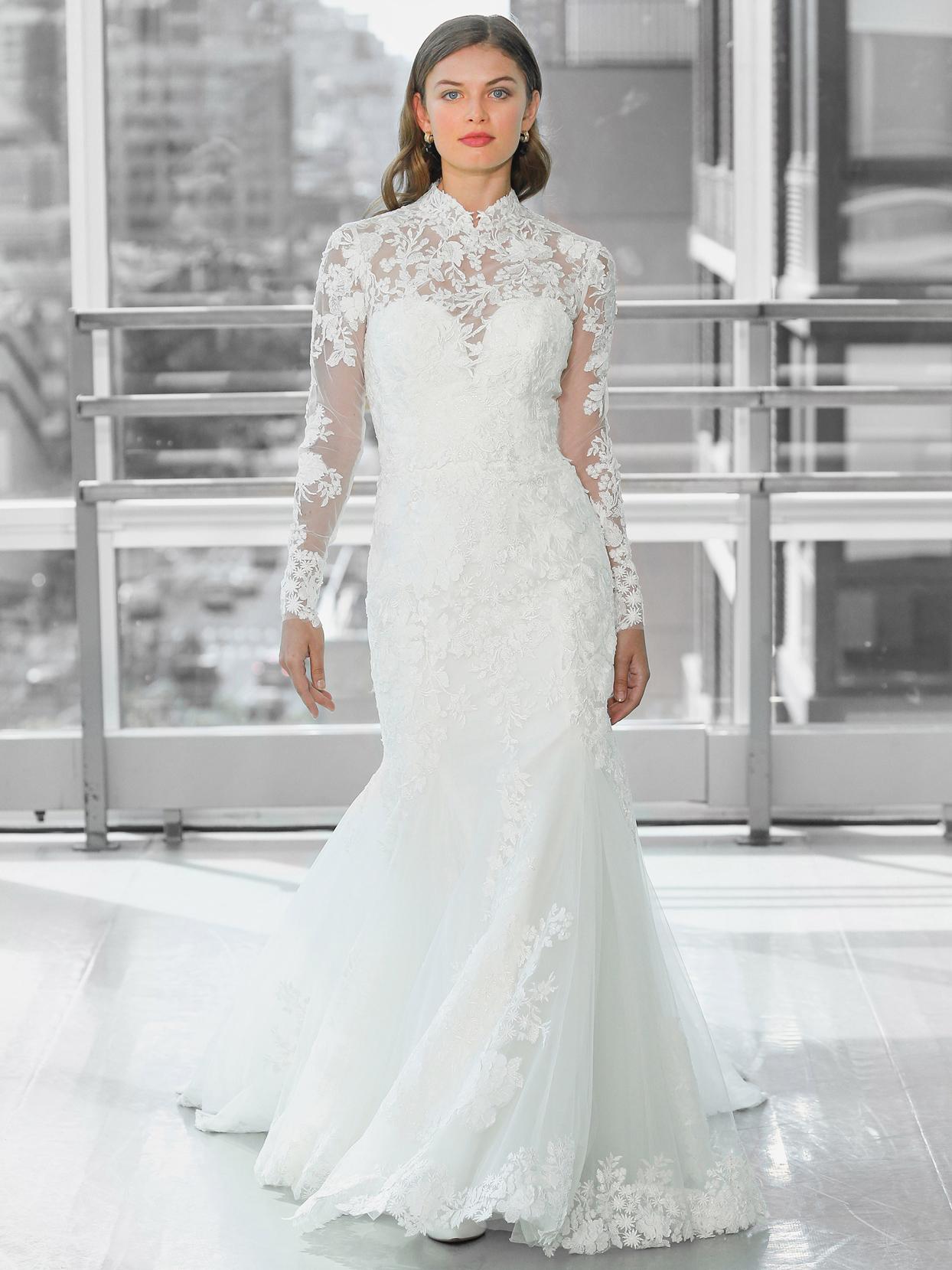 Justin Alexander Signature lace long sleeve illusion high neck mermaid wedding dress fall 2020