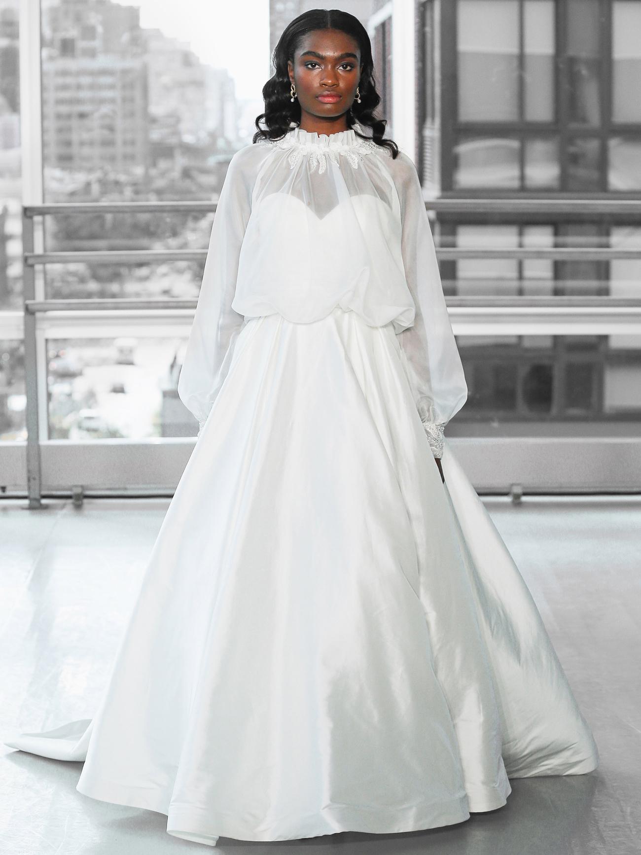 Justin Alexander Signature silk ball gown skirt organza high neck long sleeve jacket wedding dress fall 2020