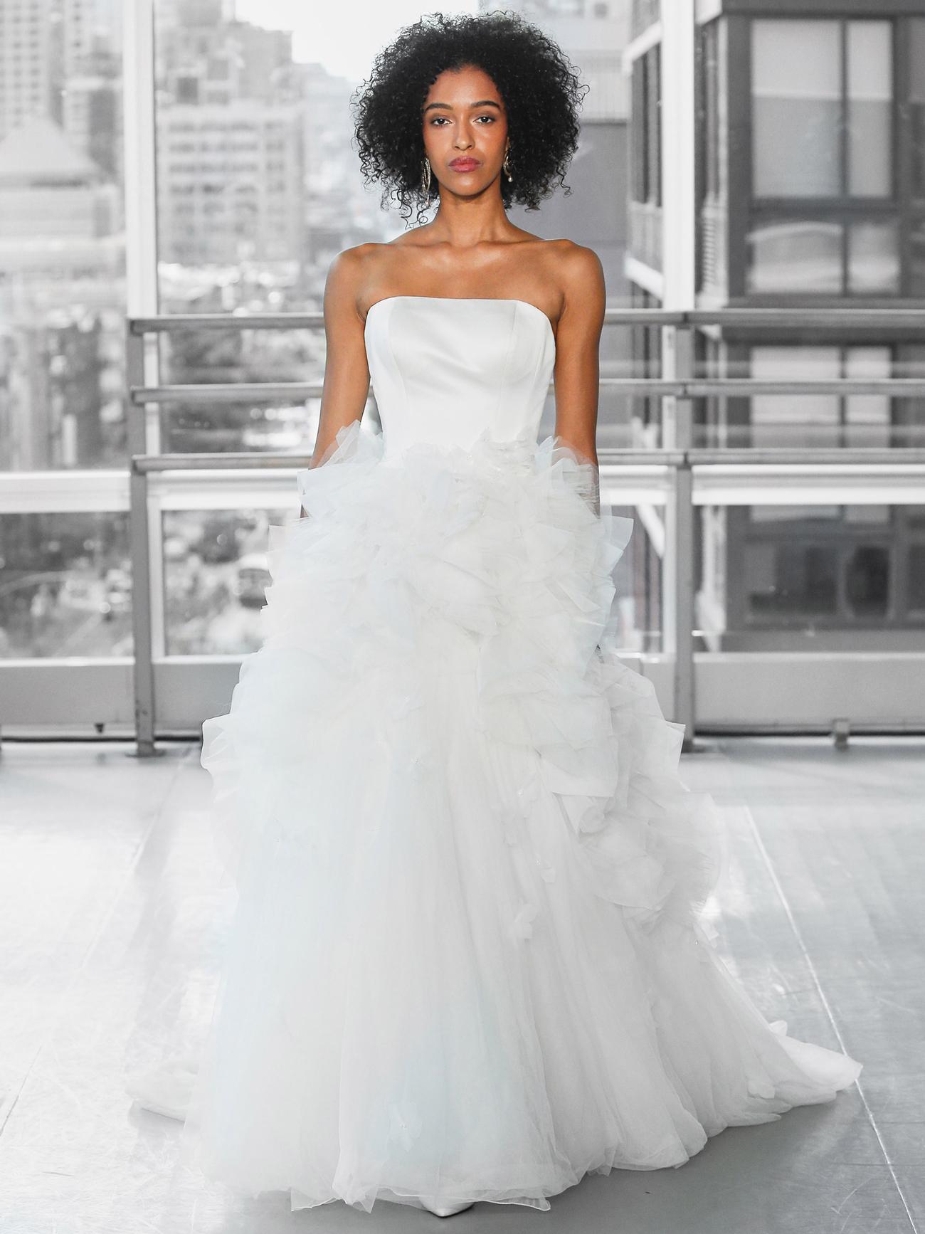 Justin Alexander Signature satin strapless bodice tulle ball gown skirt wedding dress fall 2020