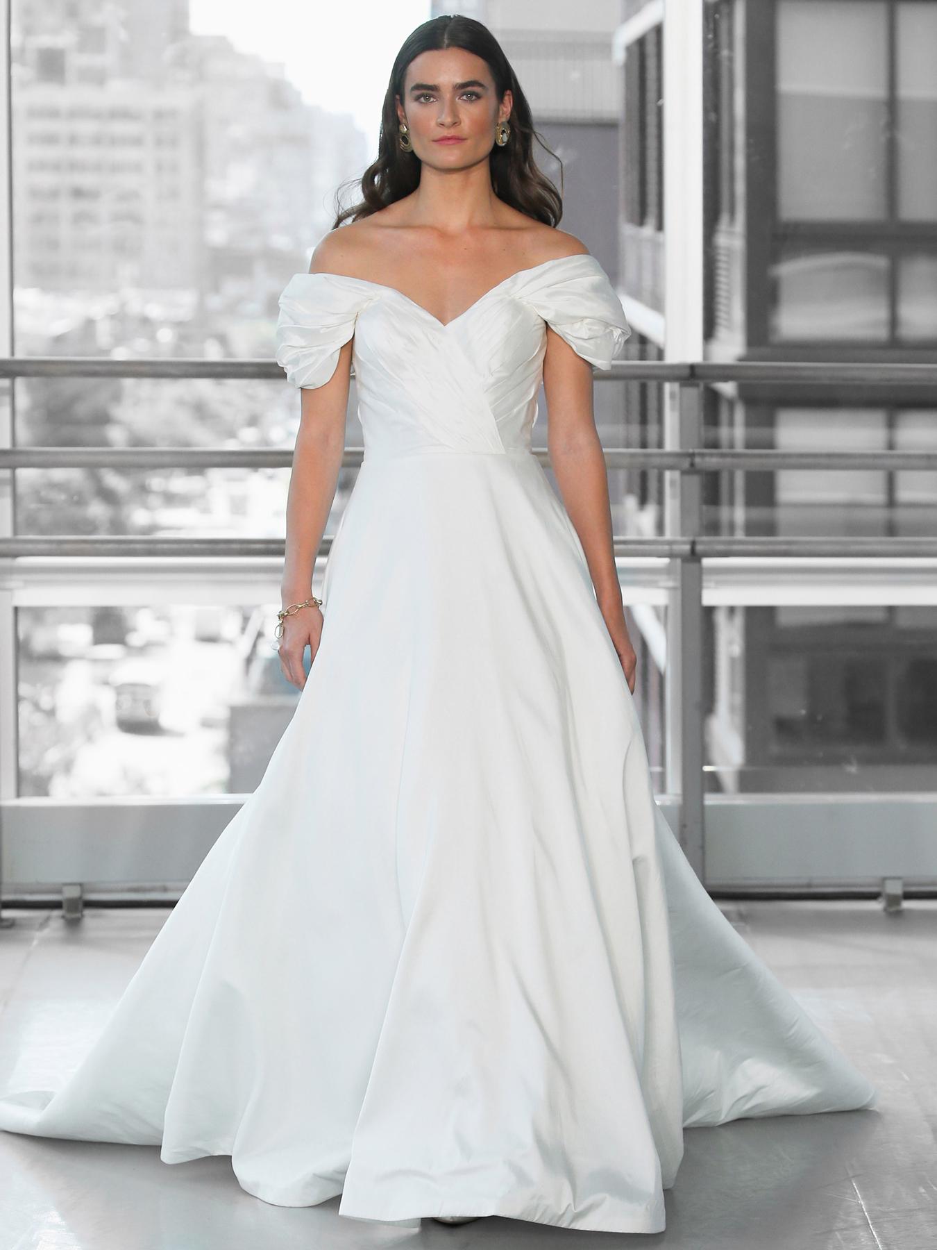 Justin Alexander Signature silk off-the-shoulder a-line wedding dress fall 2020