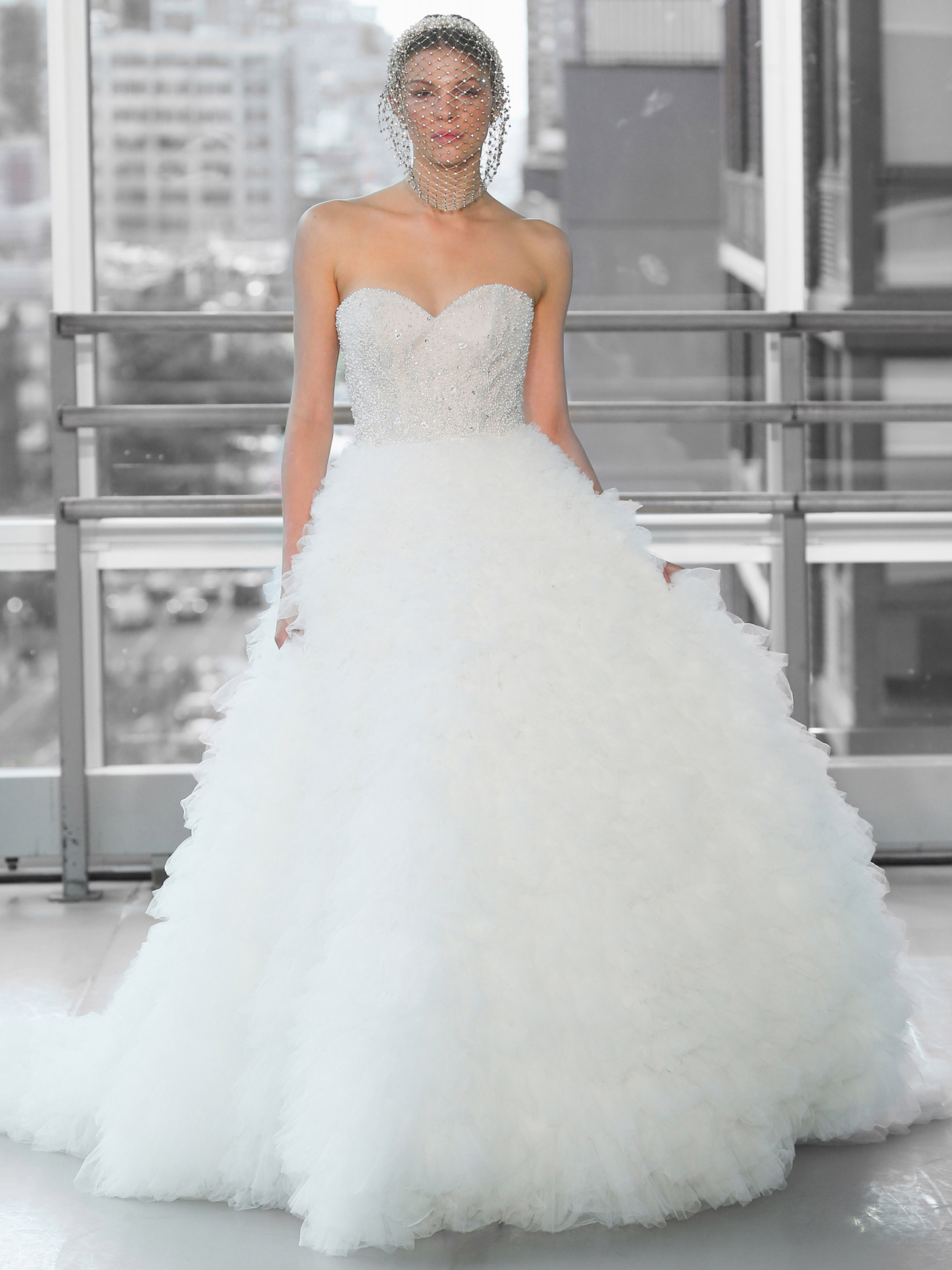 Justin Alexander Signature sweetheart strapless beaded bodice ruched tulle skirt ball gown wedding dress fall 2020