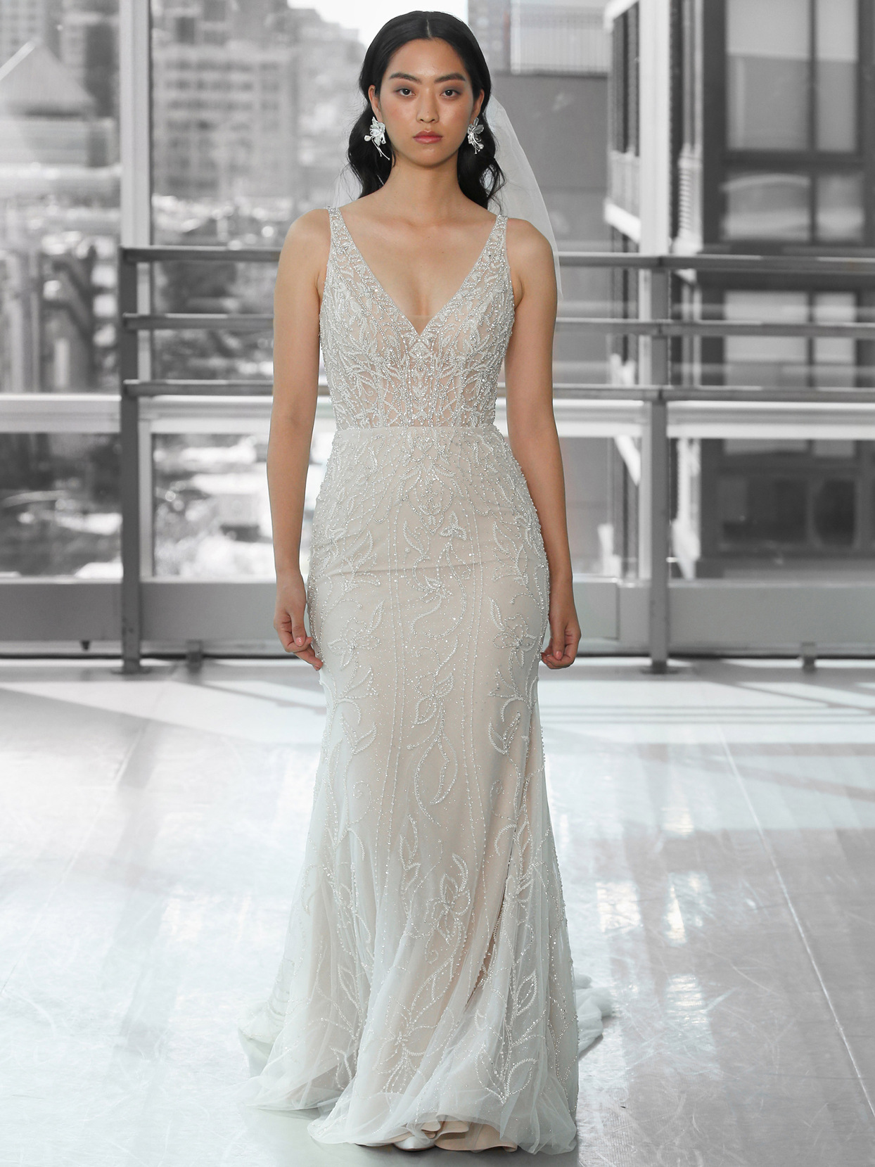Justin Alexander Signature beaded fit and flare tulle wedding dress fall 2020