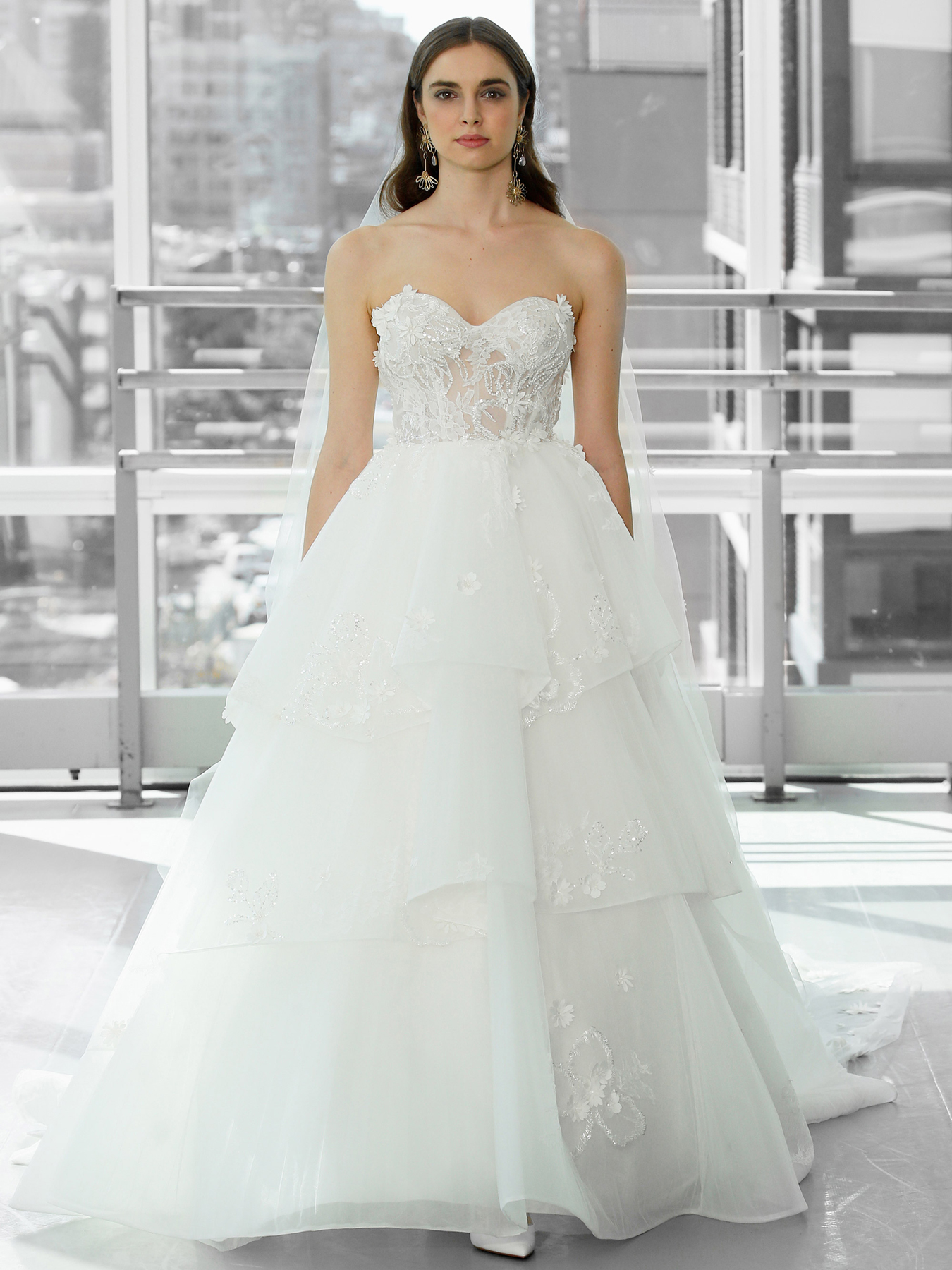 Justin Alexander Signature strapless 3d flowers and beading tiered ball gown skirt wedding dress fall 2020
