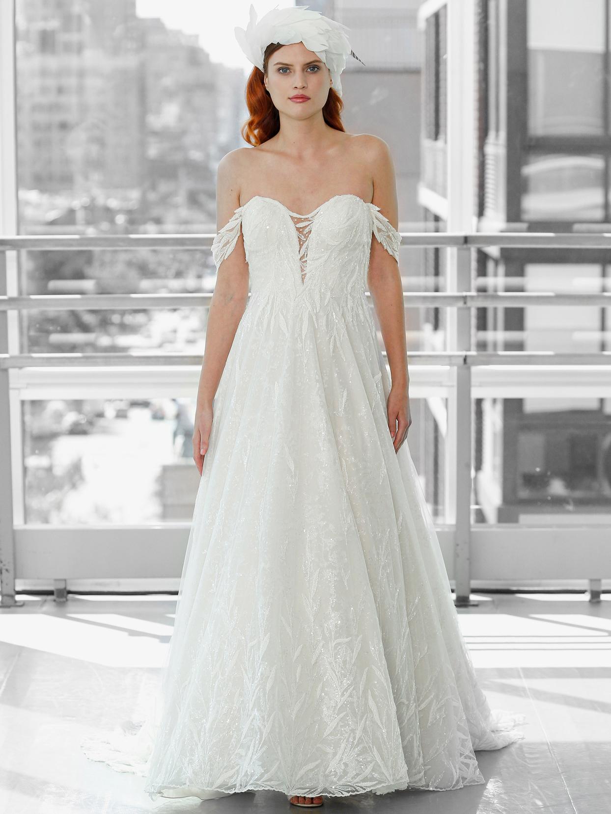 Justin Alexander Signature off-the-shoulder beaded sequin a-line wedding dress fall 2020