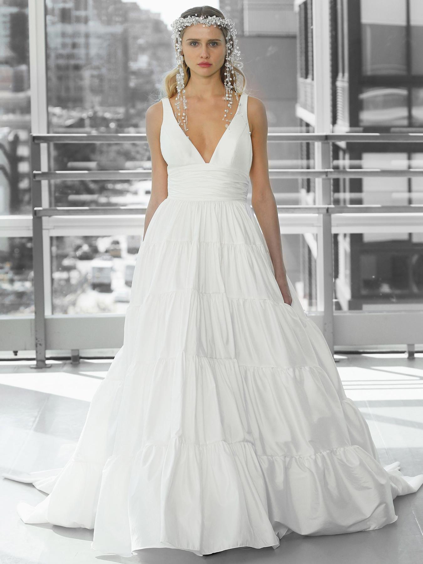 Justin Alexander Signature tine strap v-neck ball gown wedding dress fall 2020