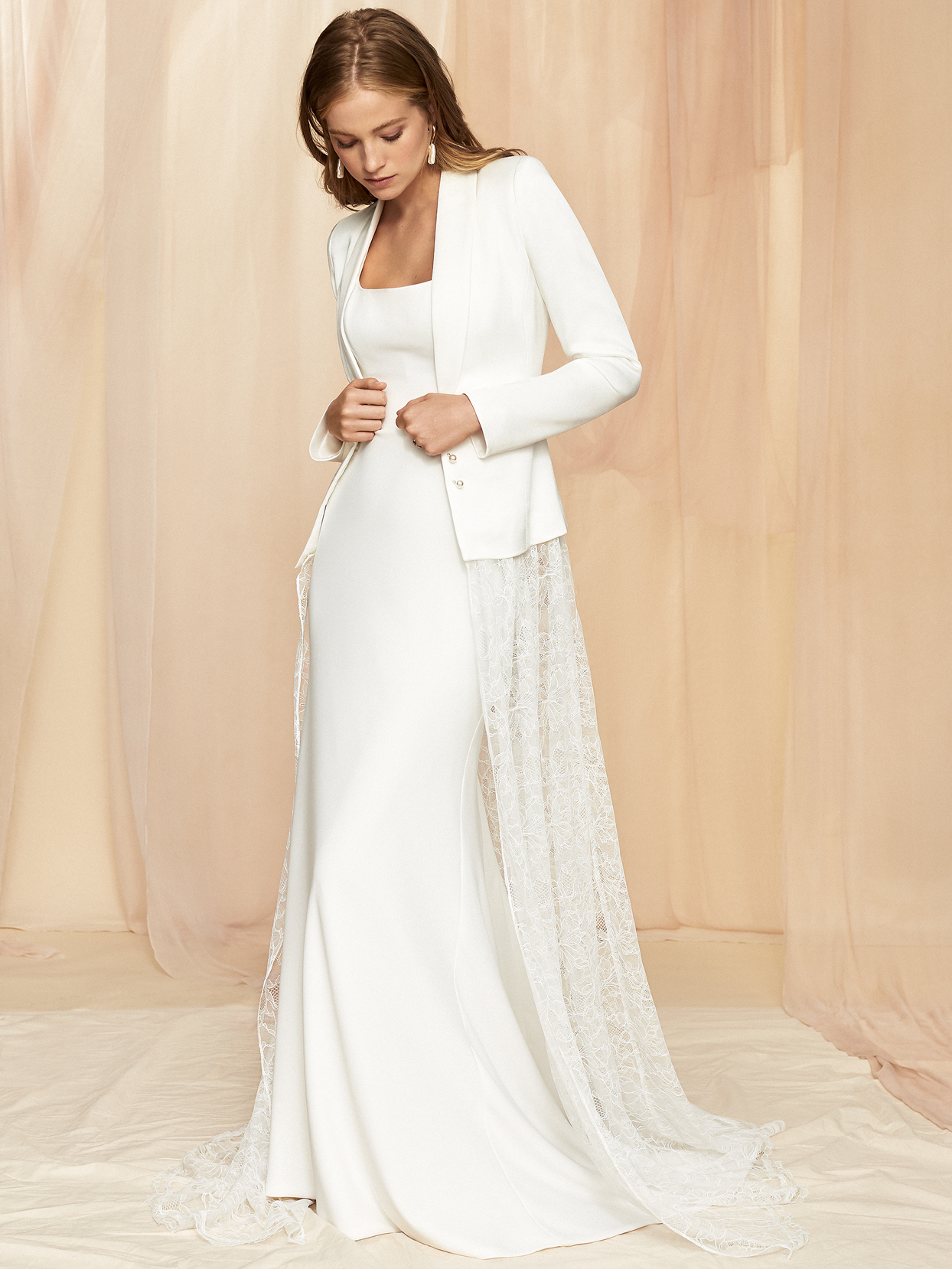 Savannah Miller long sleeve jacket lace train fit and flare wedding dress fall 2020