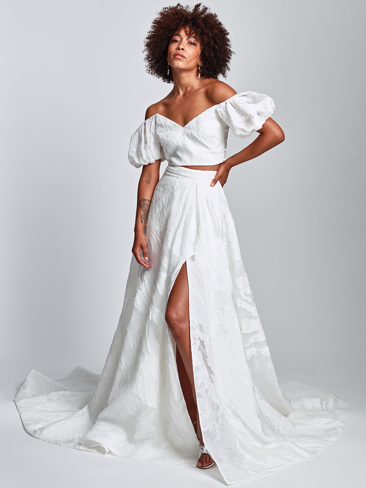 Alexandra Grecco bishop sleeved separates embroidered skirt wedding dress fall 2020