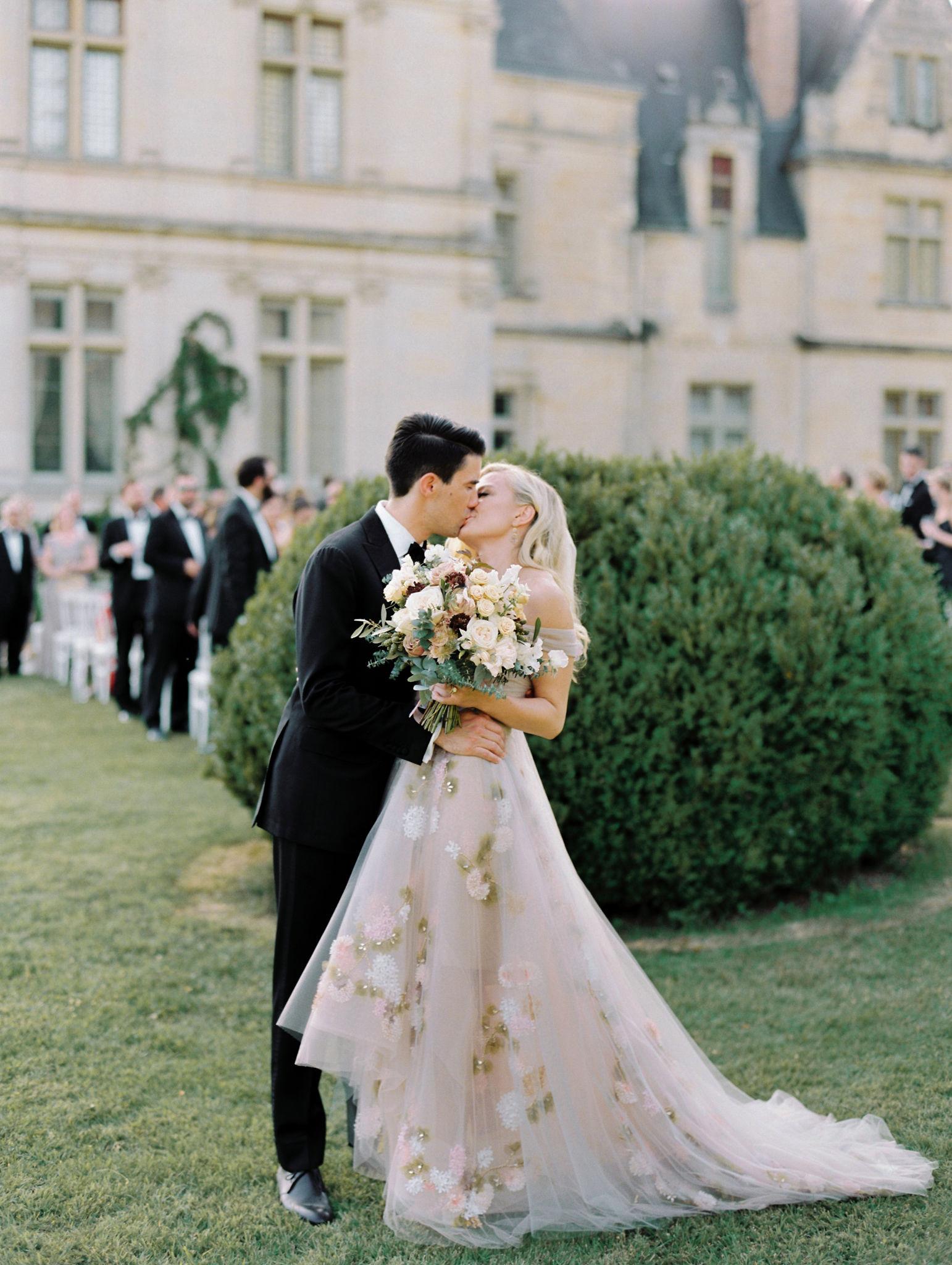 wedding recessional wedding couple kissing
