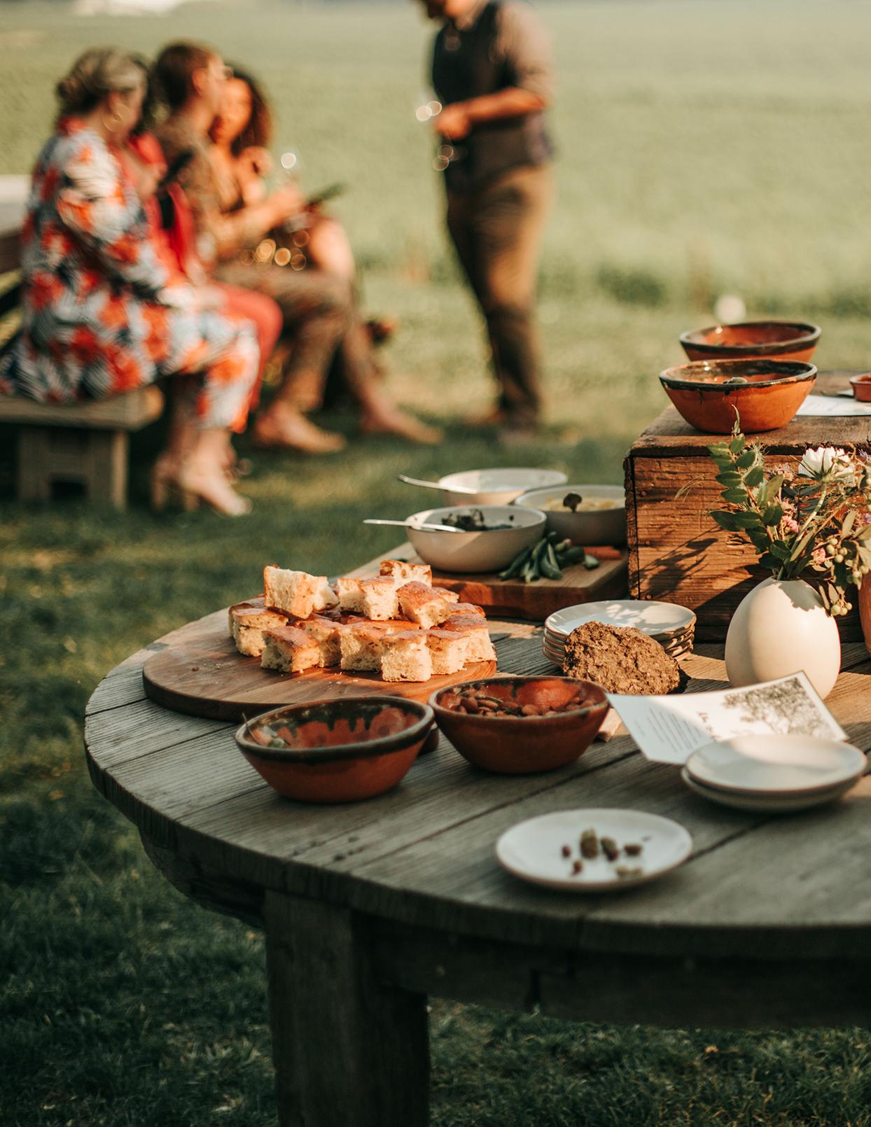 austin alex wedding cocktail hour appetizer table