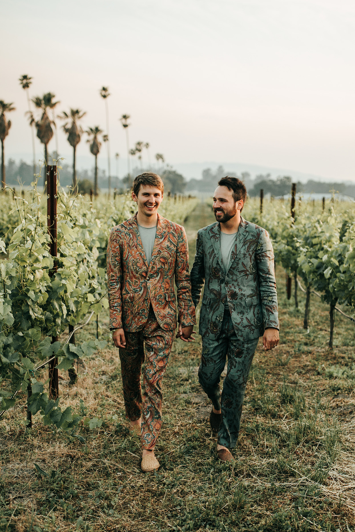 These Grooms and Their Wedding Party Wore the Coolest Patterned Suits at Their Laid-Back Sonoma Celebration