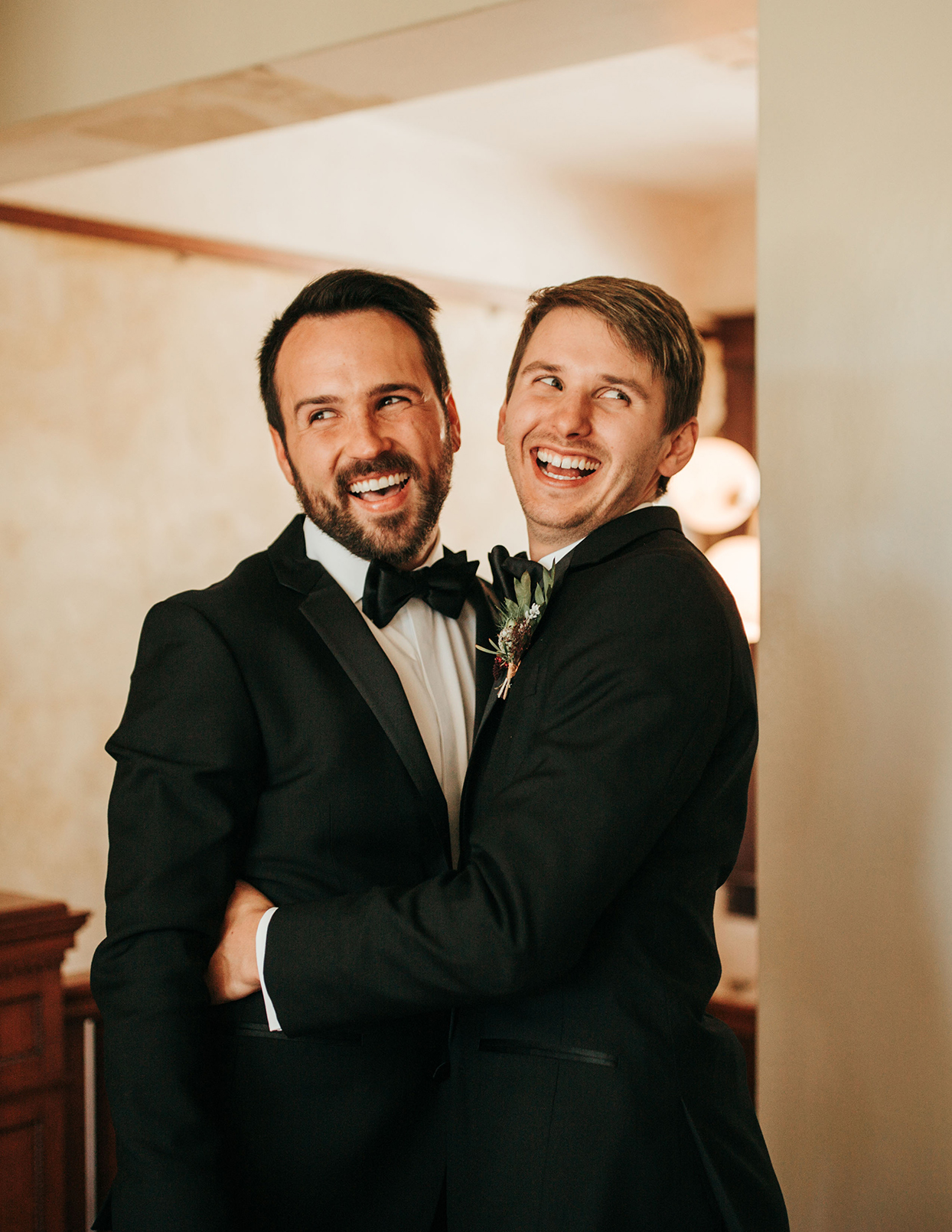 austin alex wedding couple smiling first look