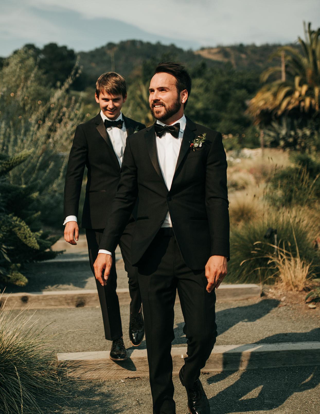 austin alex wedding grooms in black tuxes