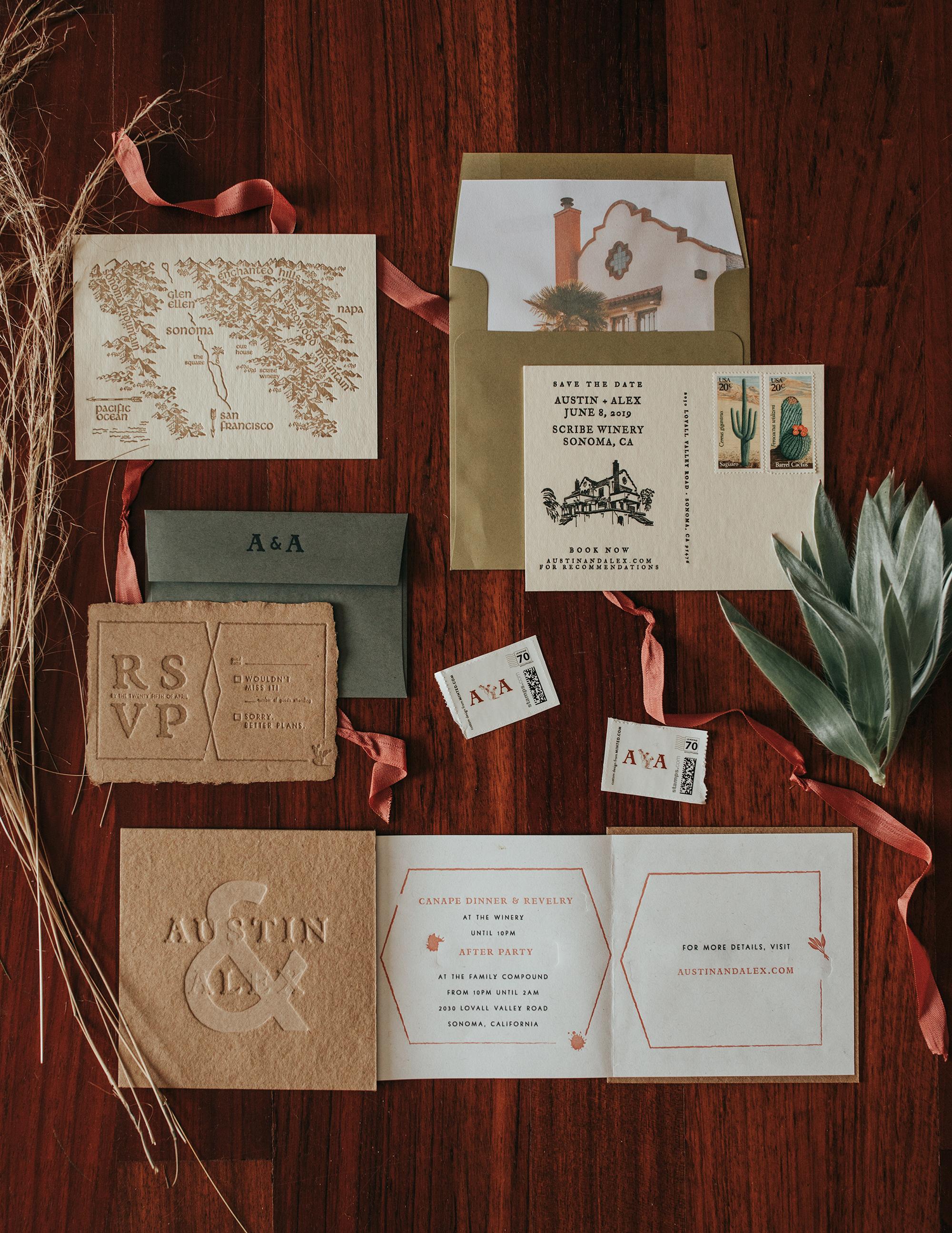austin alex wedding invitation suite