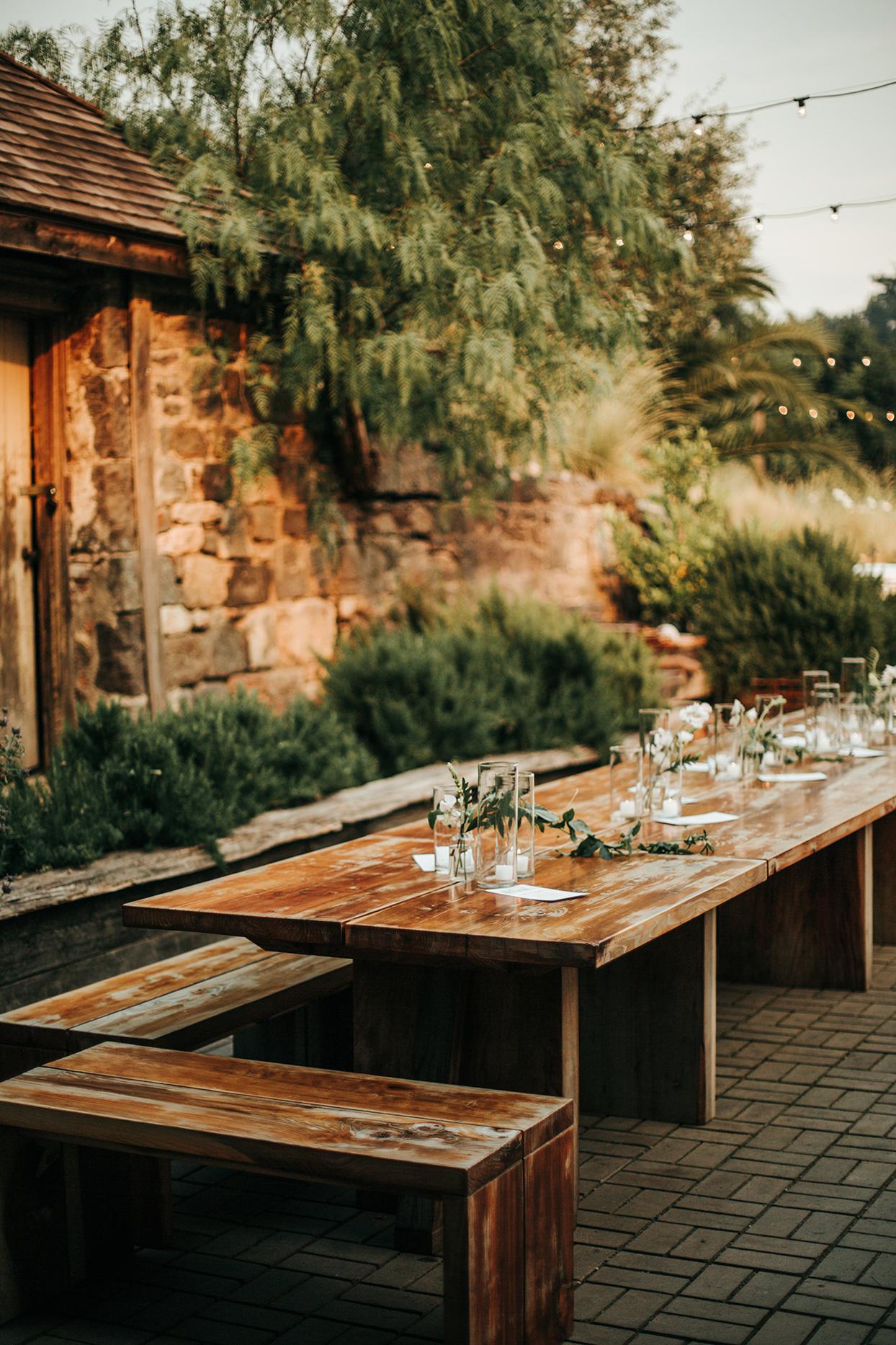 austin alex wedding wooden reception tables